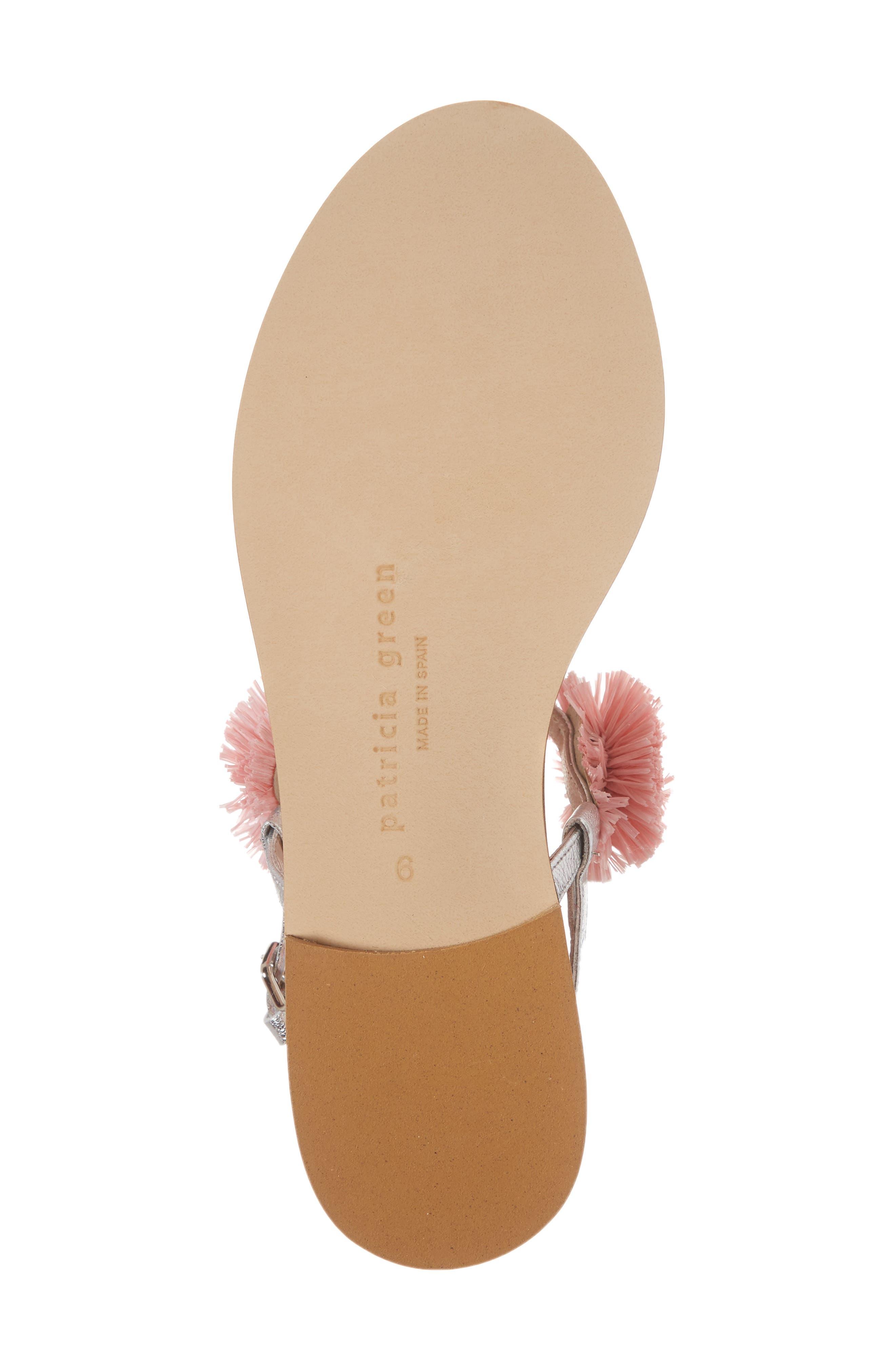 Pompom Thong Sandal,                             Alternate thumbnail 6, color,                             Pink Leather