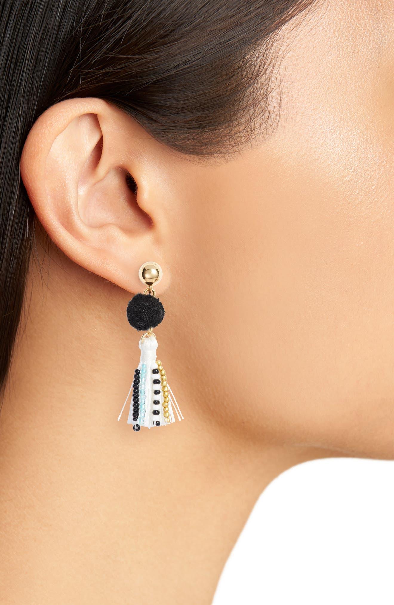 Beaded Tassel Earrings,                             Alternate thumbnail 2, color,                             Black/ White