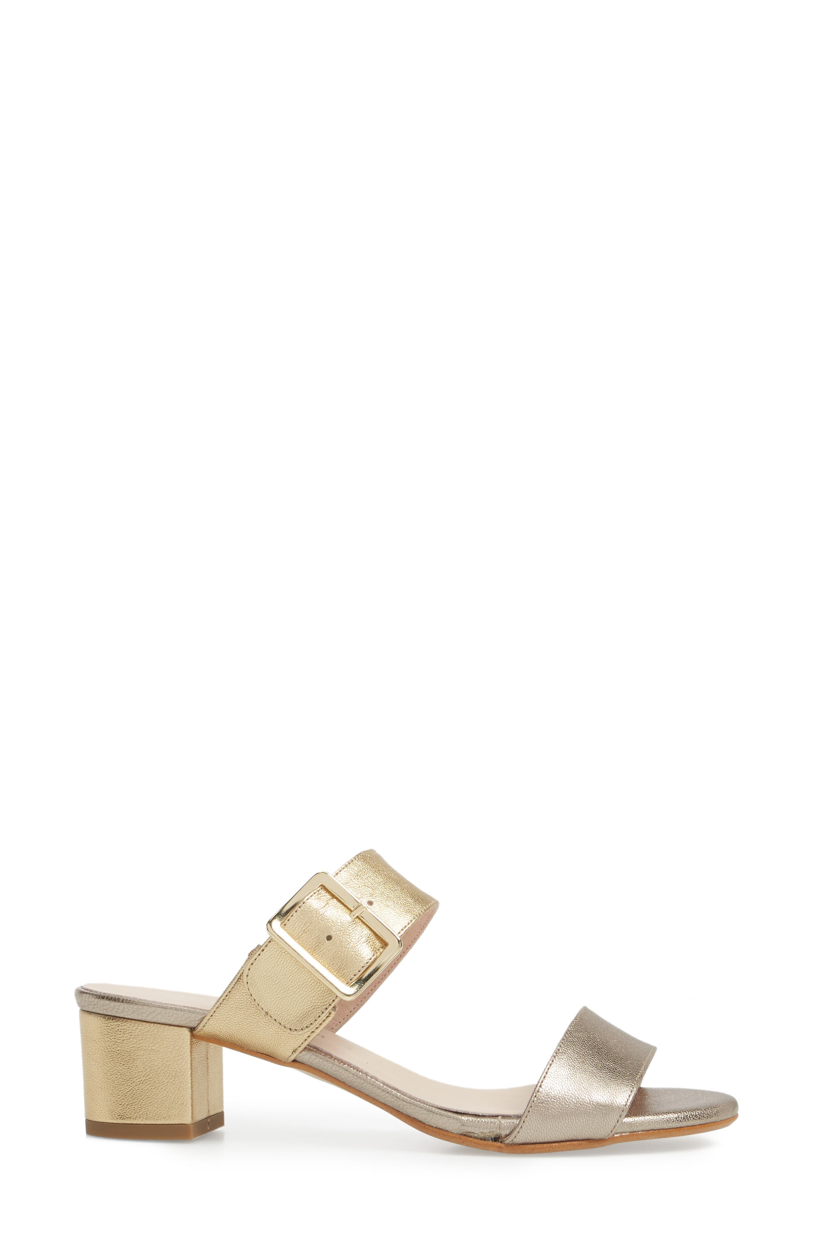 Ruth Slide Sandal,                             Alternate thumbnail 3, color,                             Gold/ Bronze Leather