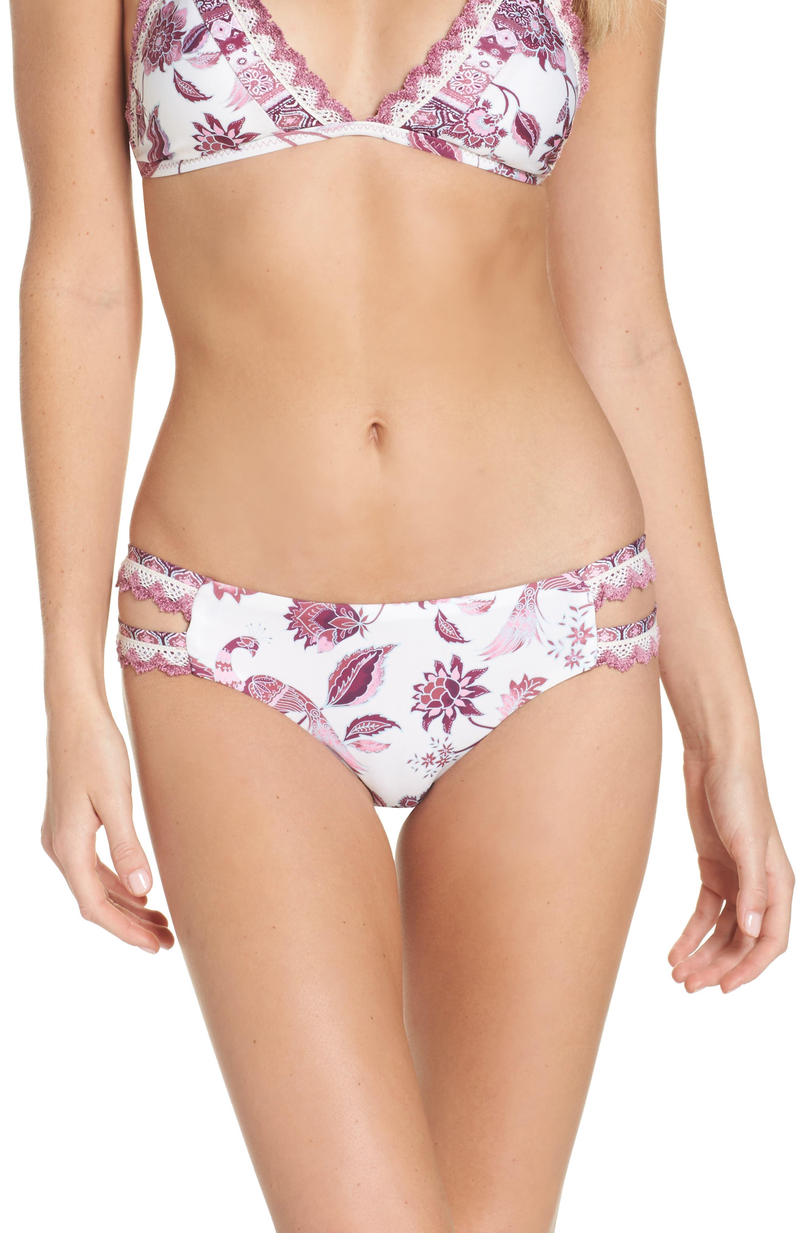 Tahiti Split Tab Hipster Bikini Bottoms,                             Main thumbnail 1, color,                             White/ Pink Multi
