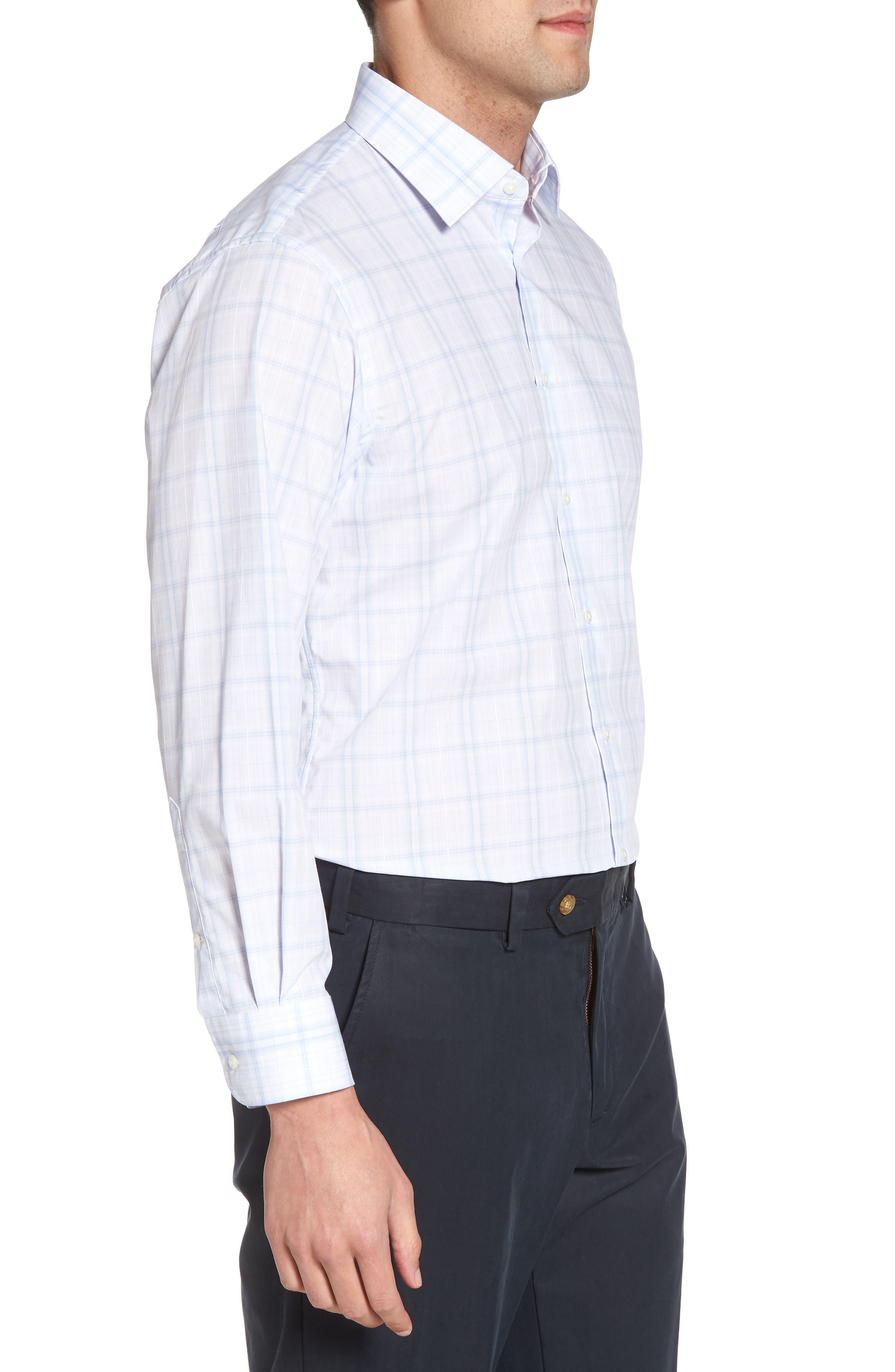 Traditional Fit Check Dress Shirt,                             Alternate thumbnail 4, color,                             Blue Xenon