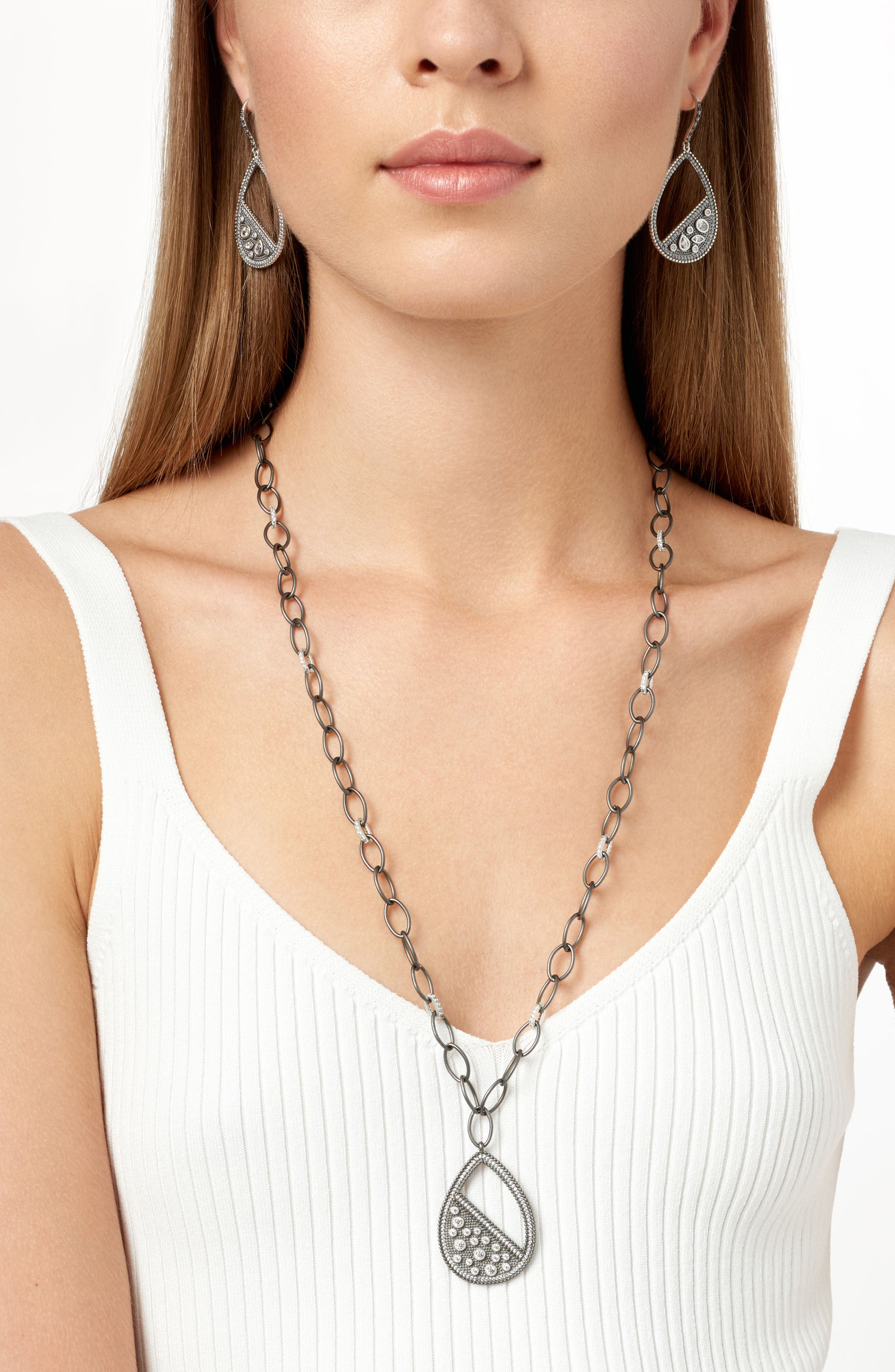 Industrial Finish Teardrop Necklace,                             Alternate thumbnail 3, color,                             Silver/ Black Rhodium