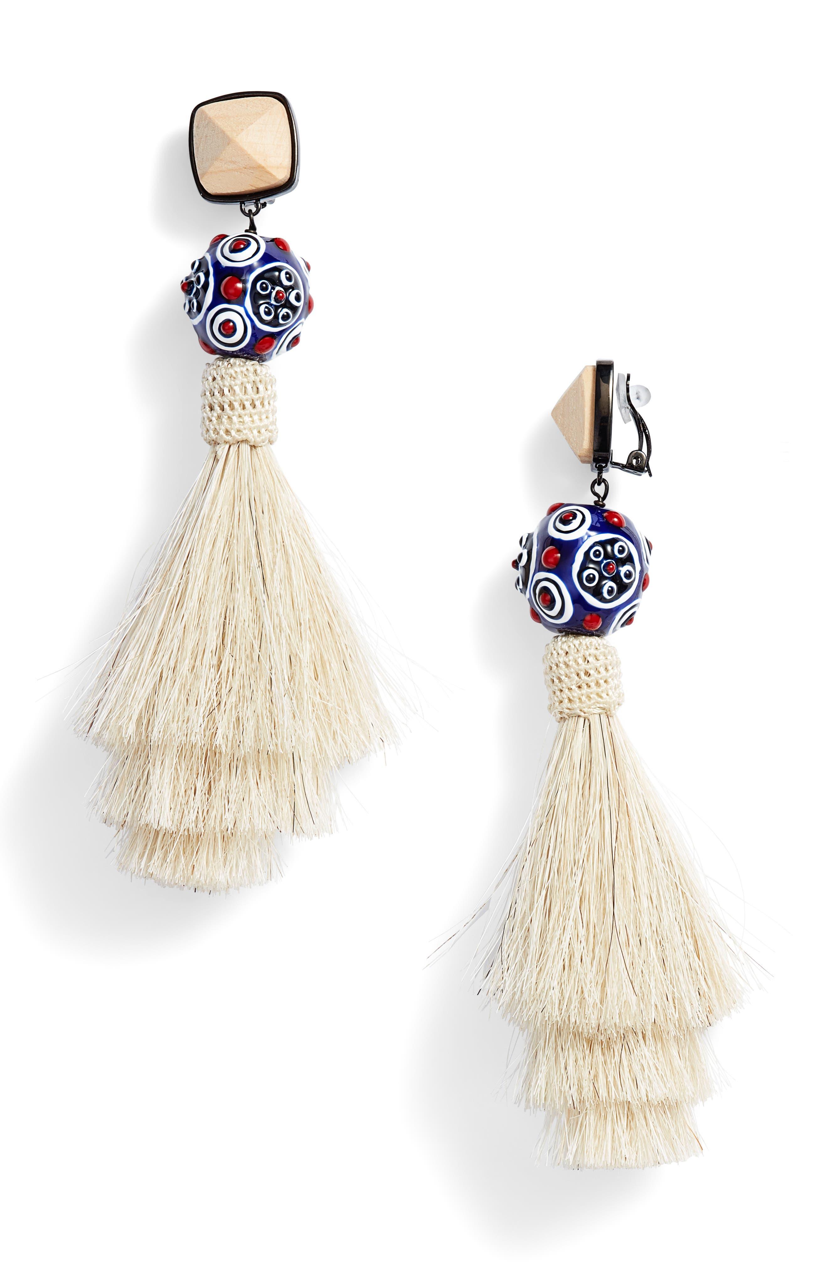 Tassel Earrings,                             Main thumbnail 1, color,                             New Ivory