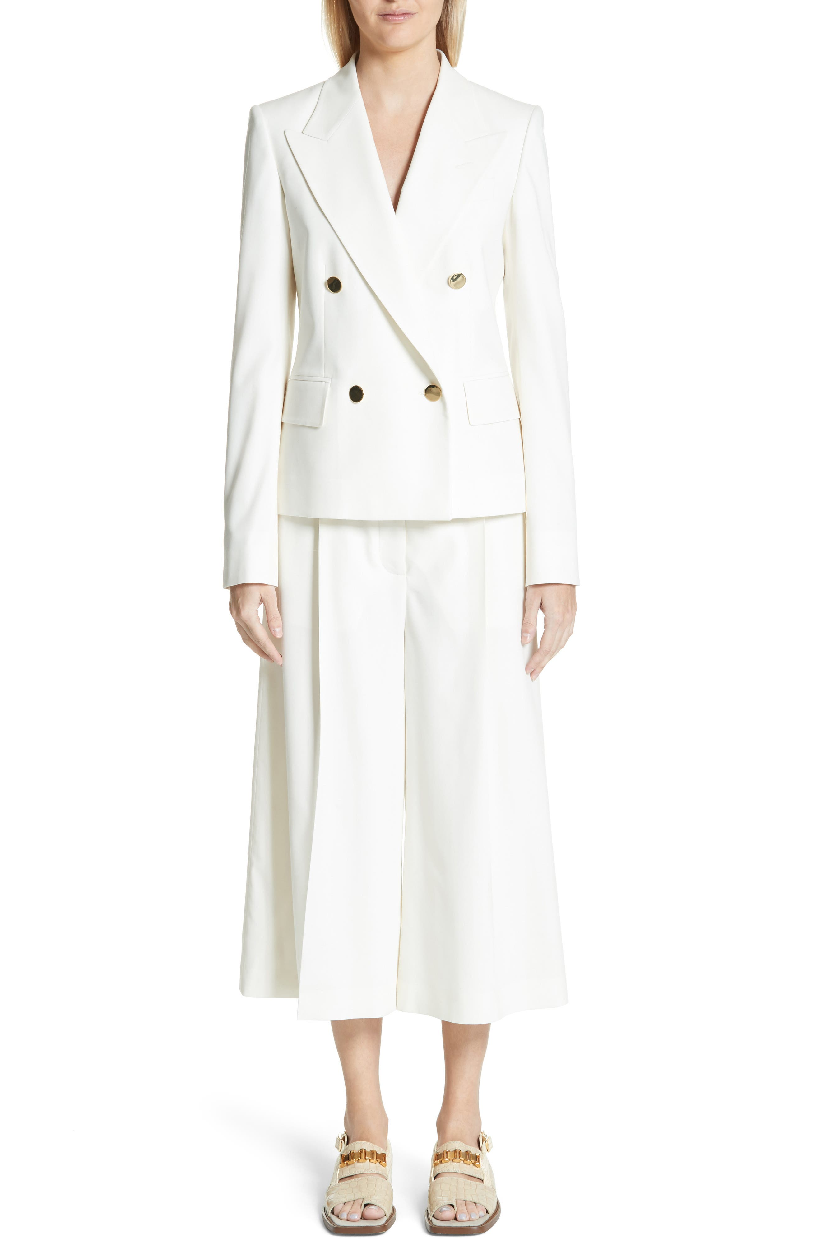 Wool Twill Culottes,                             Alternate thumbnail 2, color,                             Cream