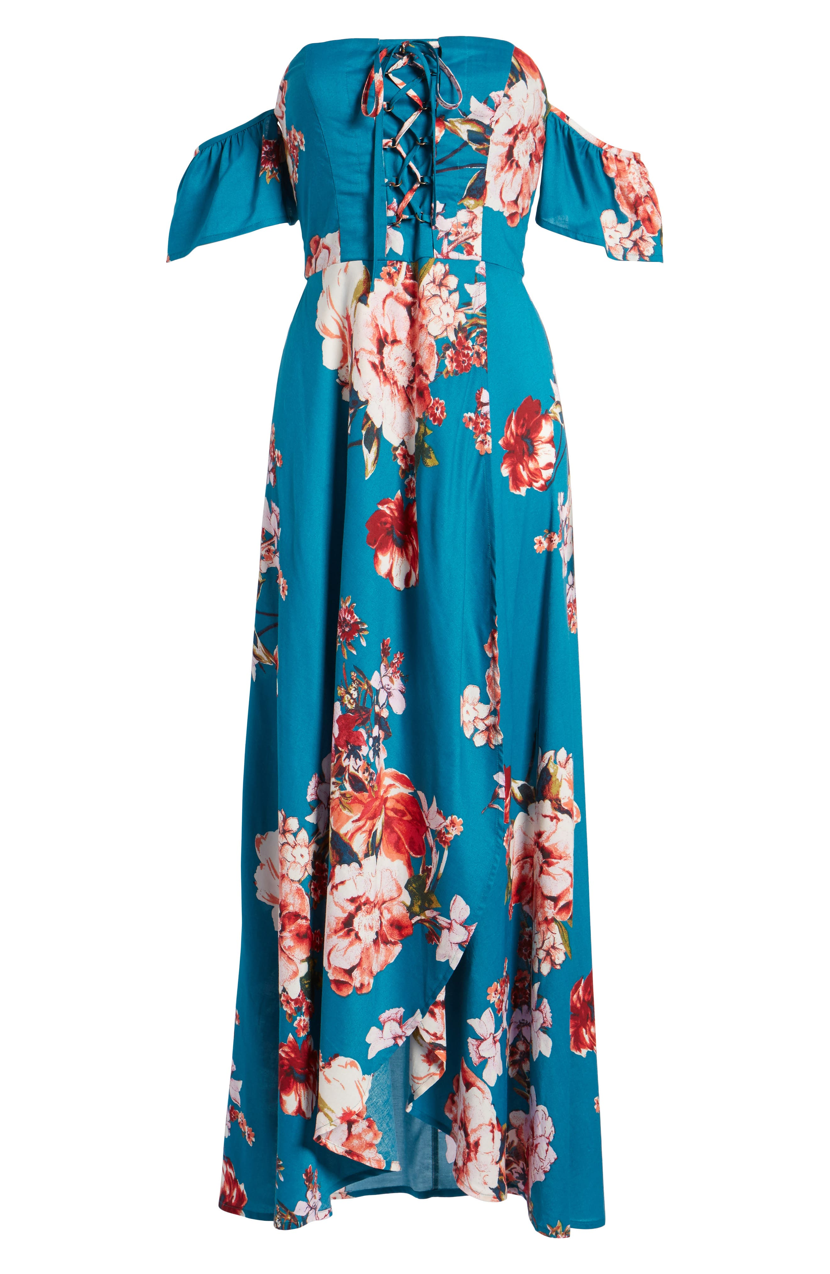 Lace Up Cold Shoulder Maxi Dress,                             Alternate thumbnail 6, color,                             Teal/ Peach