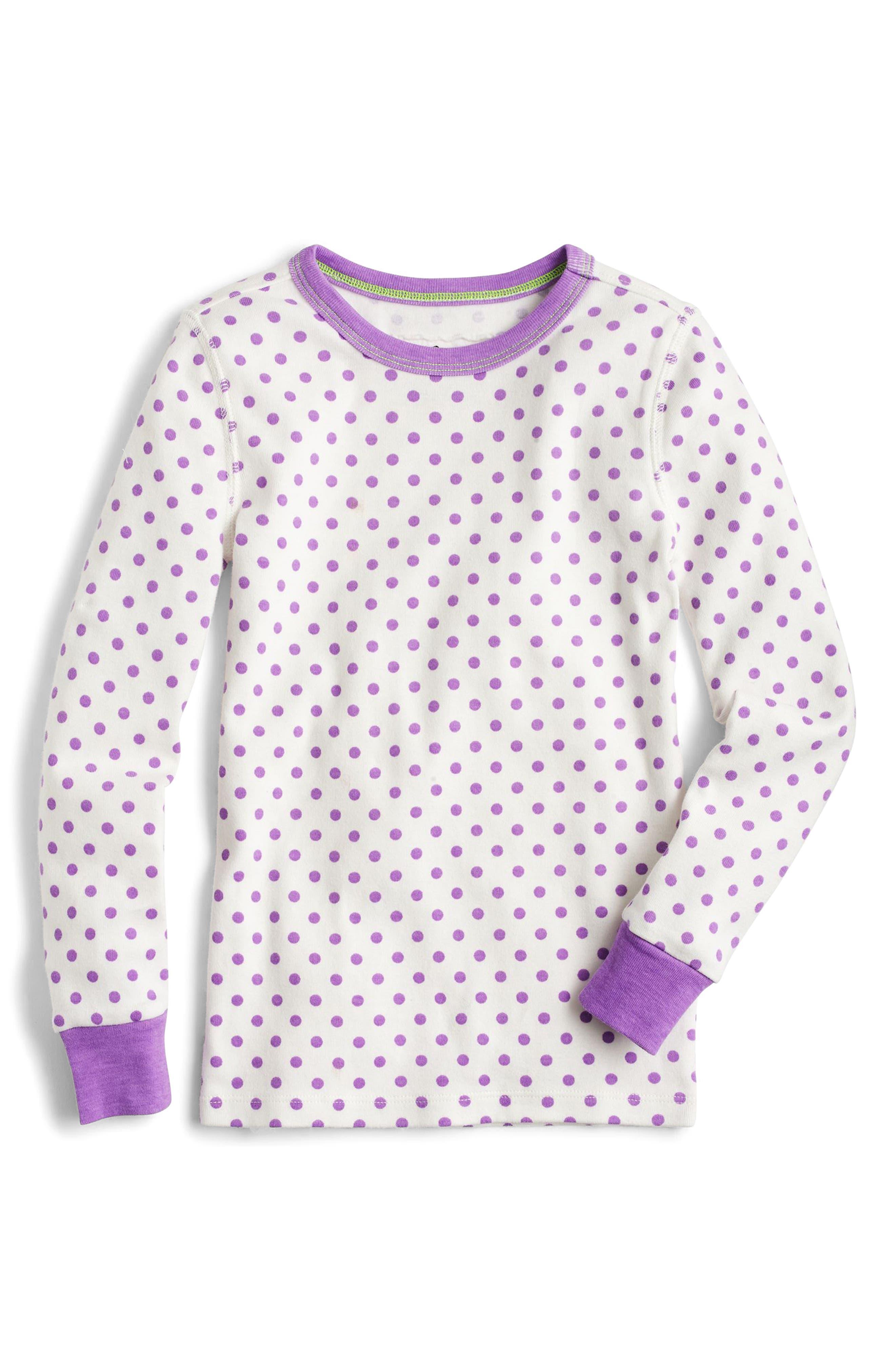 Alternate Image 2  - crewcuts by J.Crew Dot & Stripe Fitted Two-Piece Pajamas (Toddler Girls, Little Girls & Big Girls)