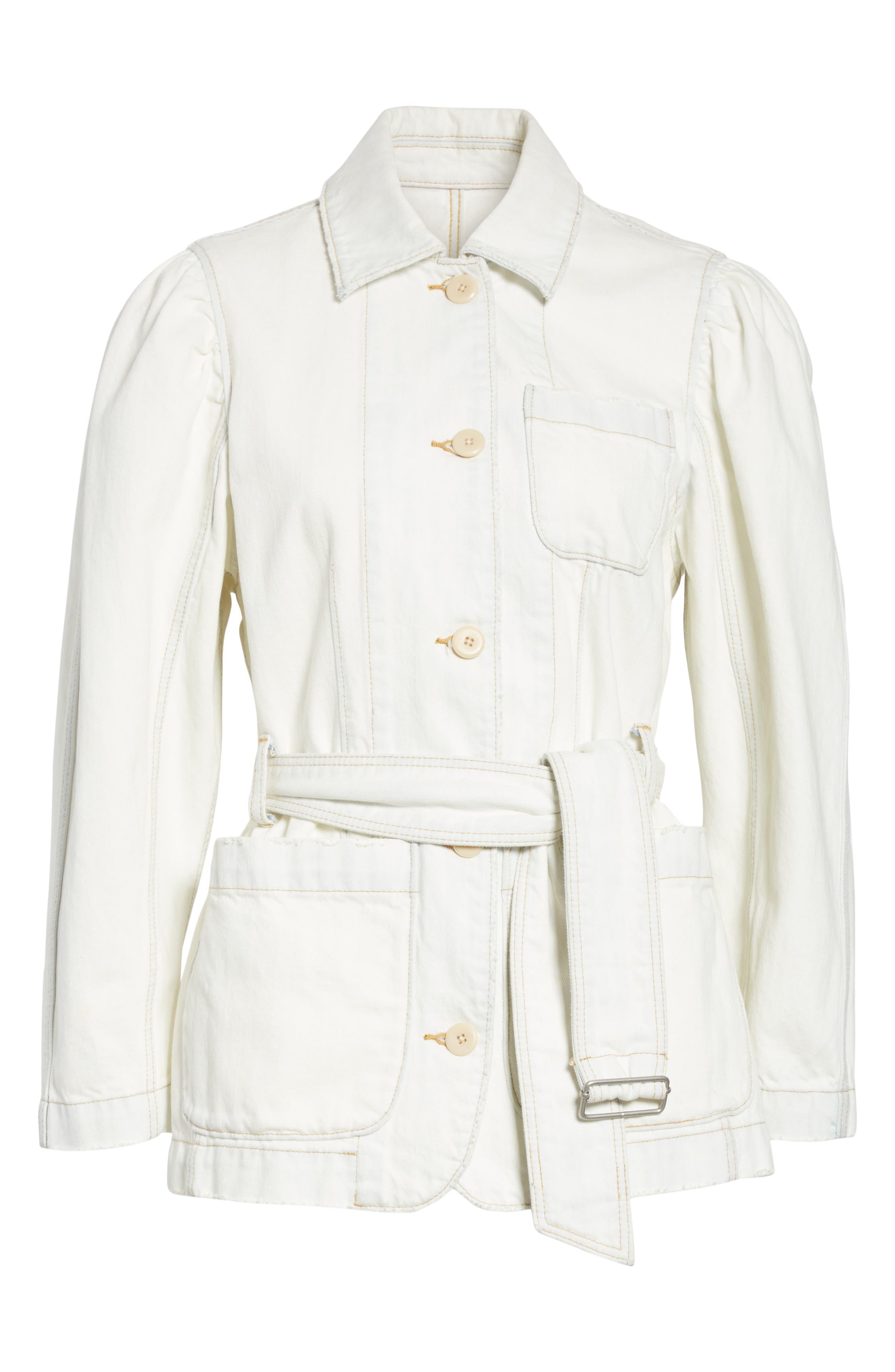 Belted Denim Jacket,                             Alternate thumbnail 6, color,                             Whiteout Wash
