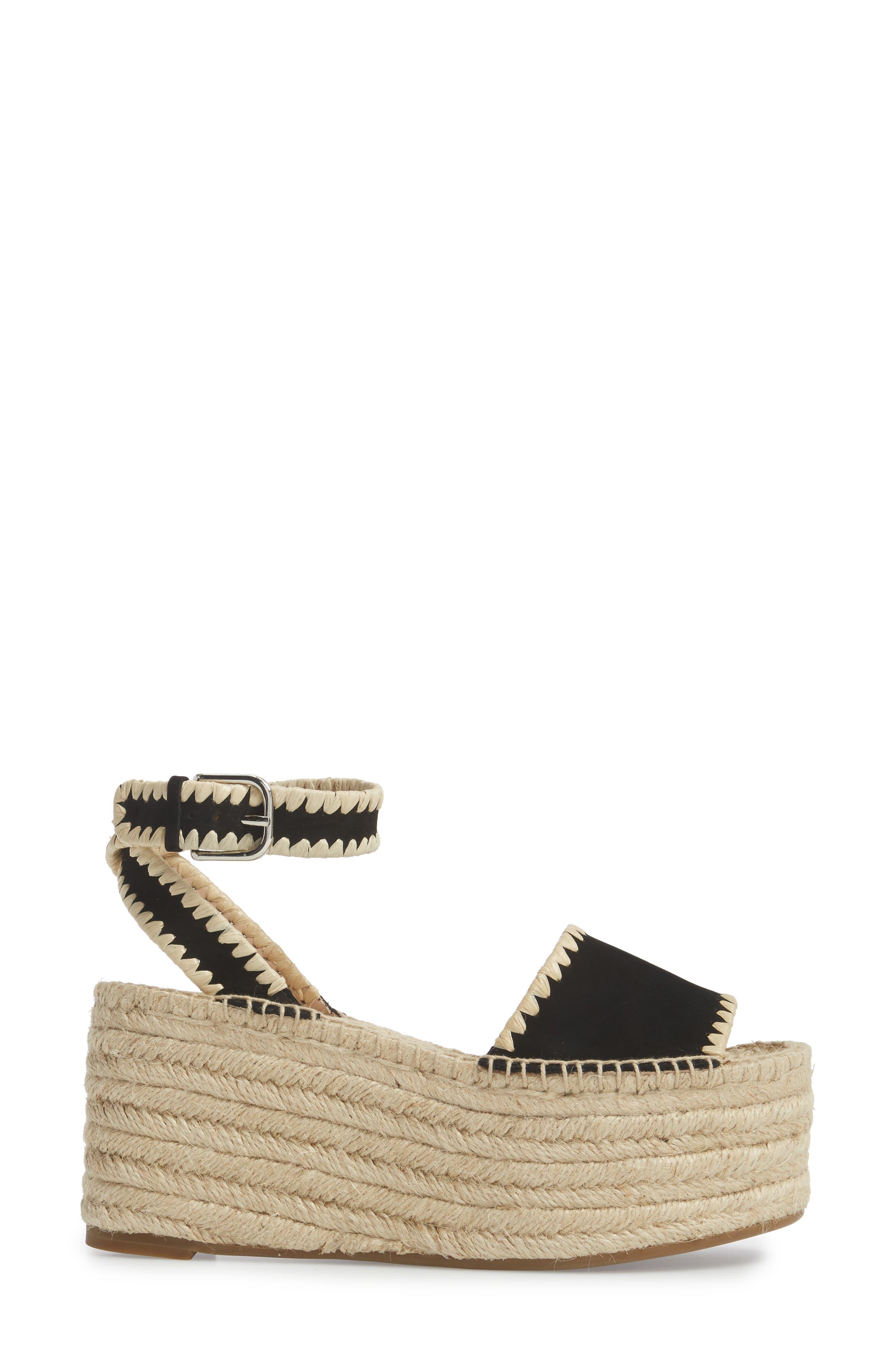 Ria Espadrille Platform Sandal,                             Alternate thumbnail 3, color,                             Black Leather
