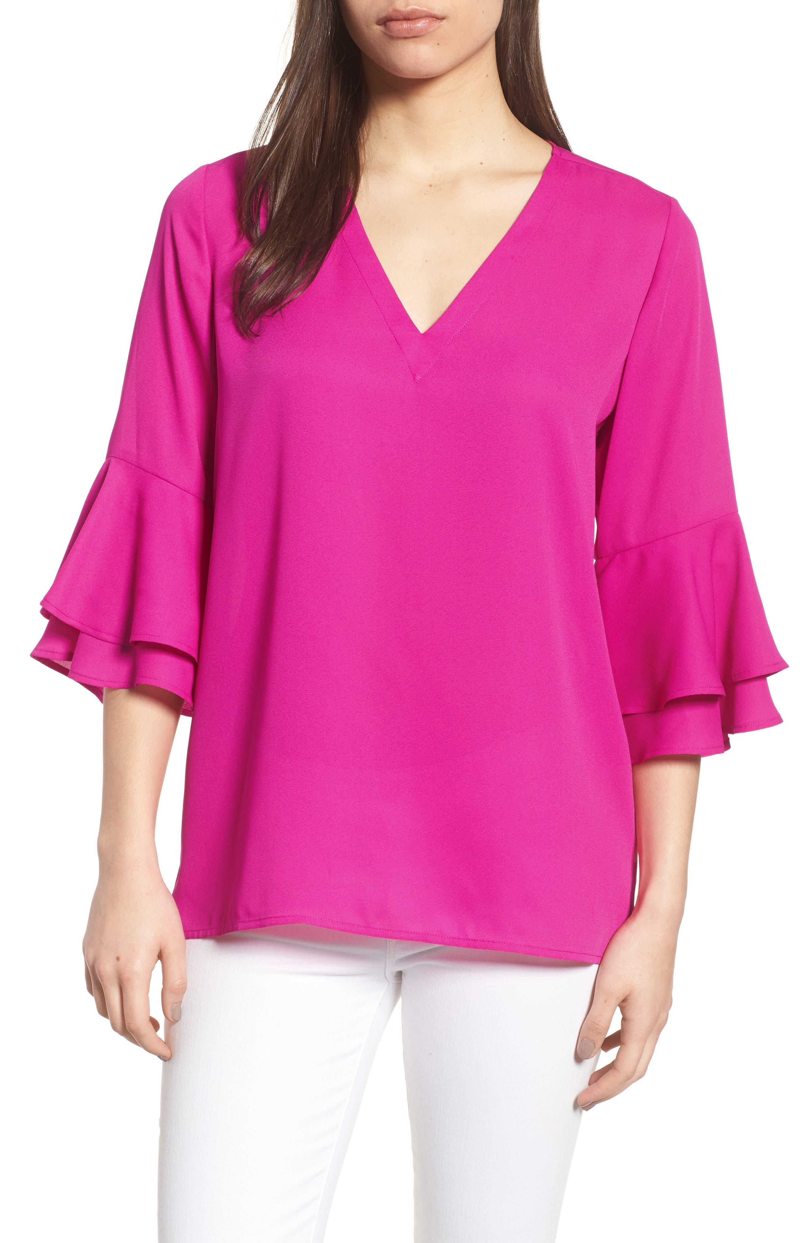 Ruffle Sleeve V-Neck Blouse,                             Main thumbnail 1, color,                             686-Pink Nouveau