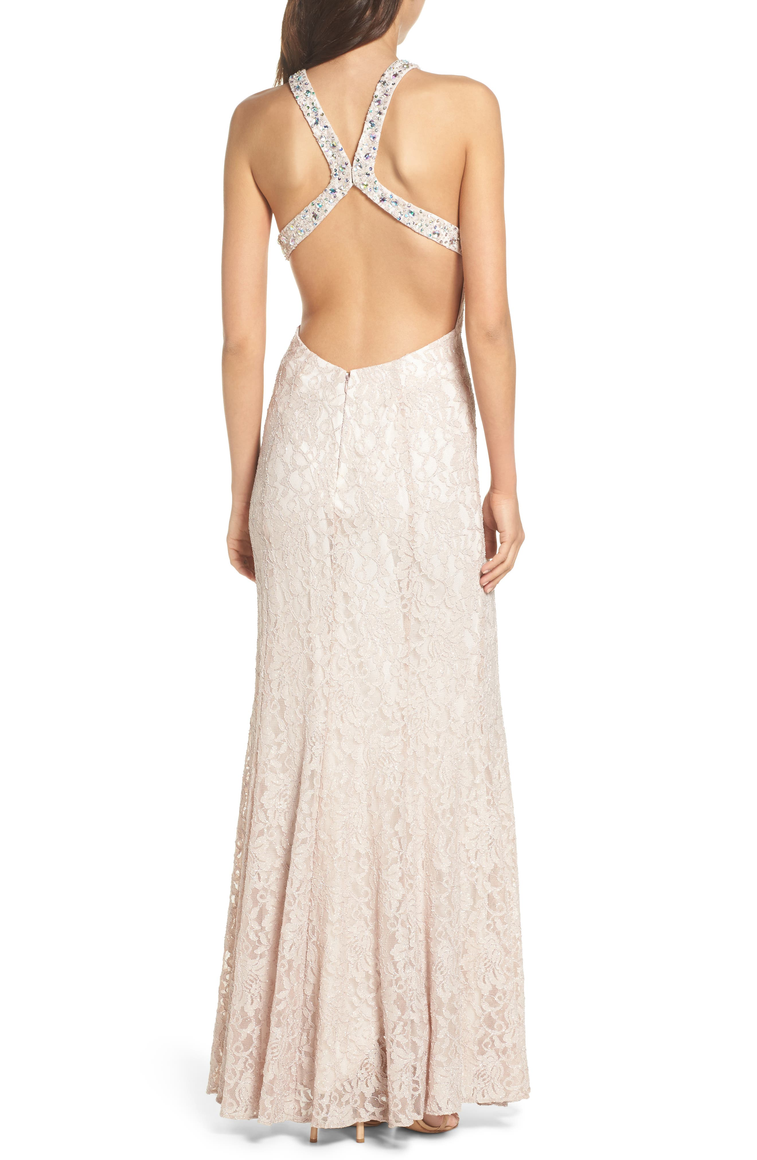 Embellished Lace Gown,                             Alternate thumbnail 2, color,                             Champagne / Ivory