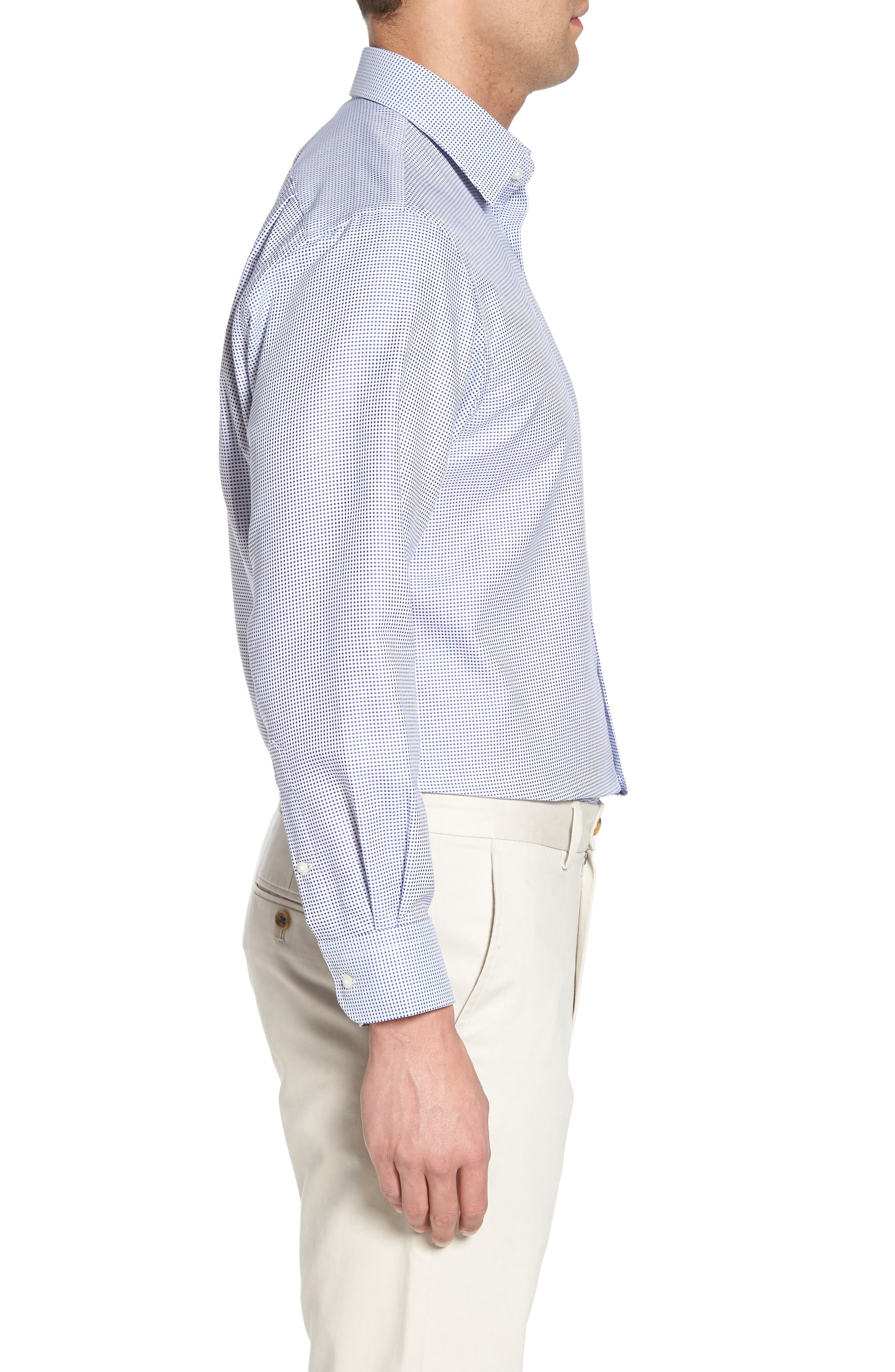 Traditional Fit Microcheck Dress Shirt,                             Alternate thumbnail 4, color,                             Blue Surf