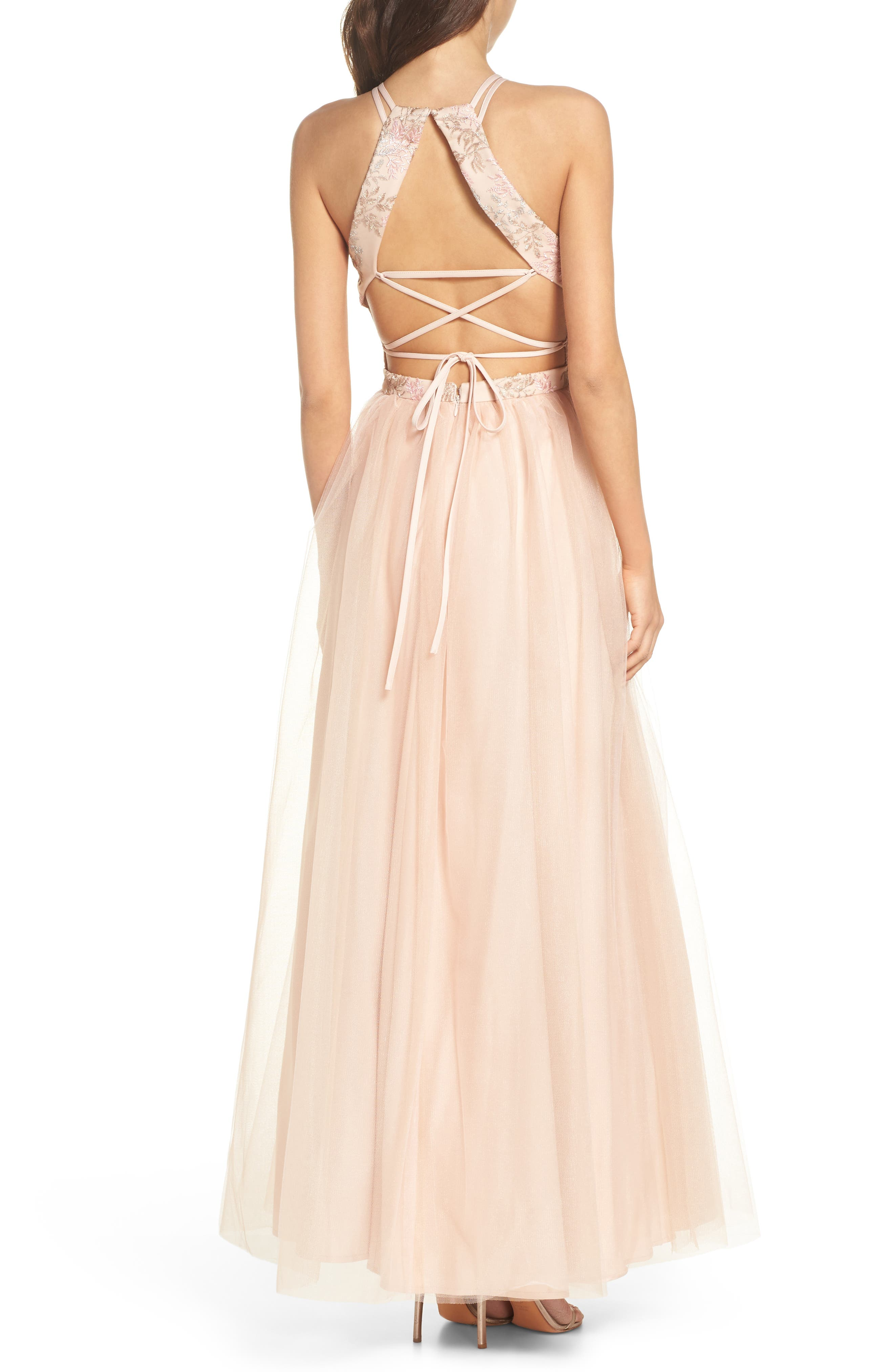 Embroidered Bodice Fit & Flare Gown,                             Alternate thumbnail 2, color,                             Blush / Nude / Pink