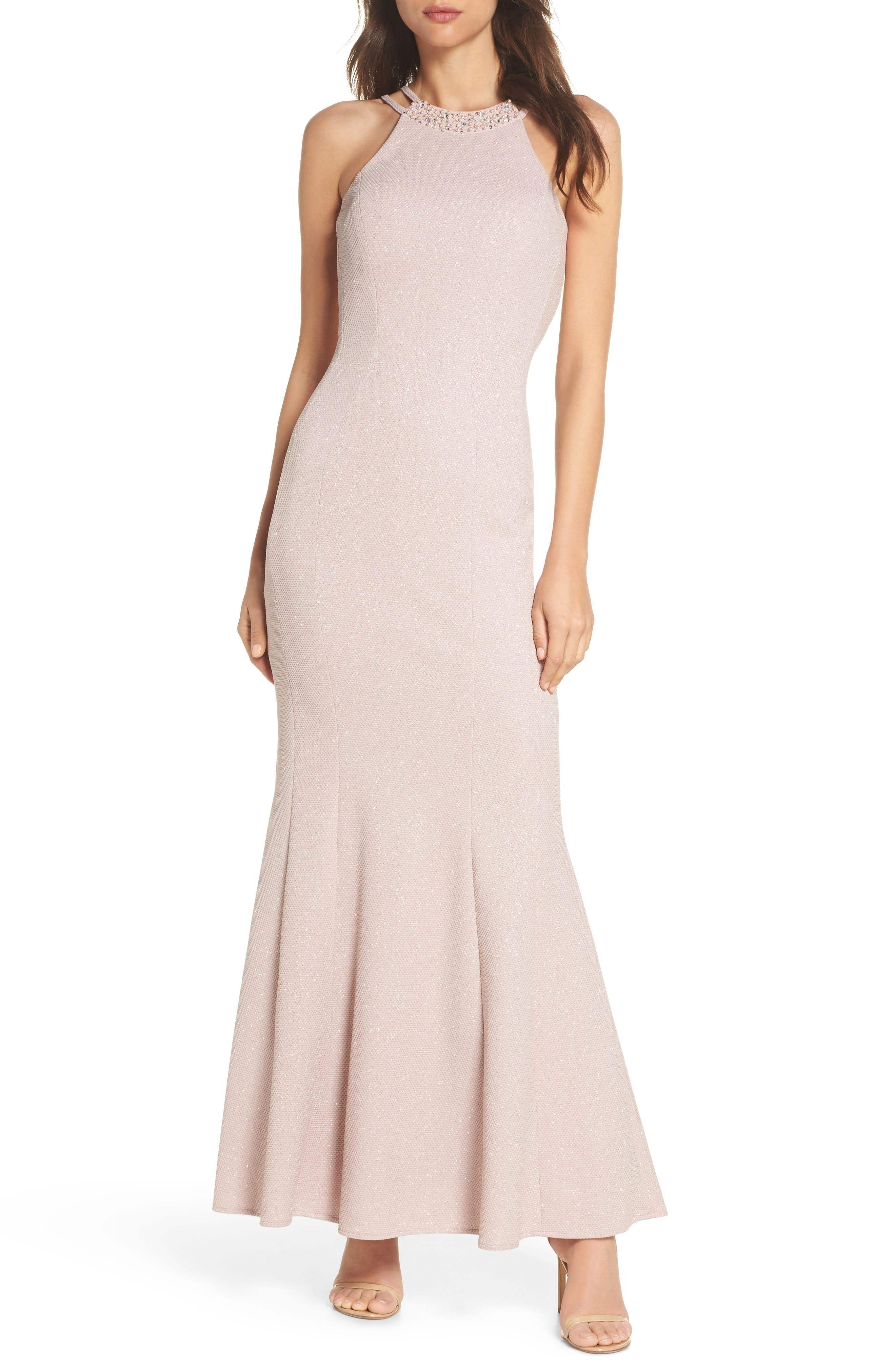 Embellished Glitter Trumpet Gown,                         Main,                         color, Champagne