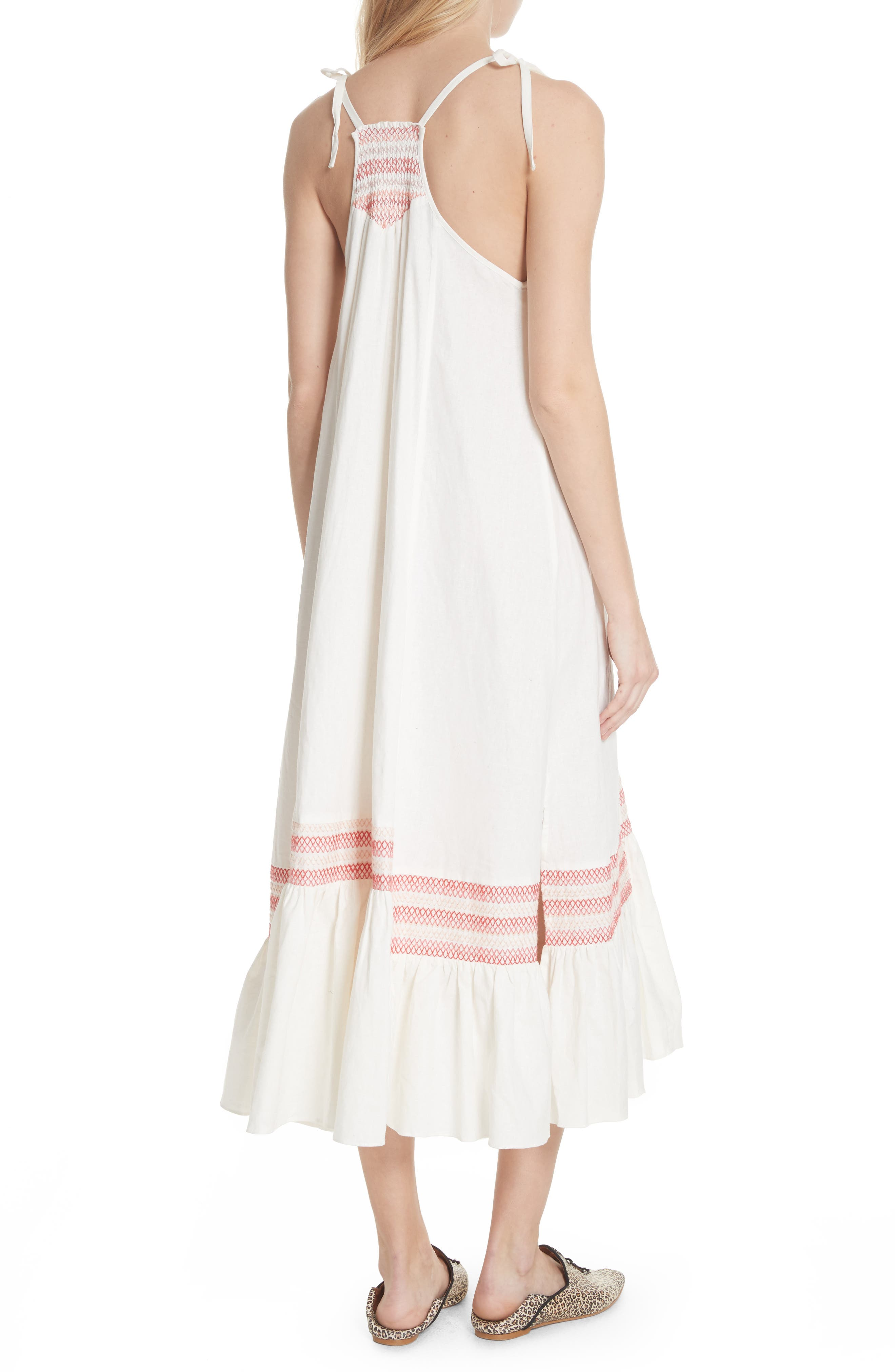 Another Love Smocked Midi Dress,                             Alternate thumbnail 2, color,                             Ivory