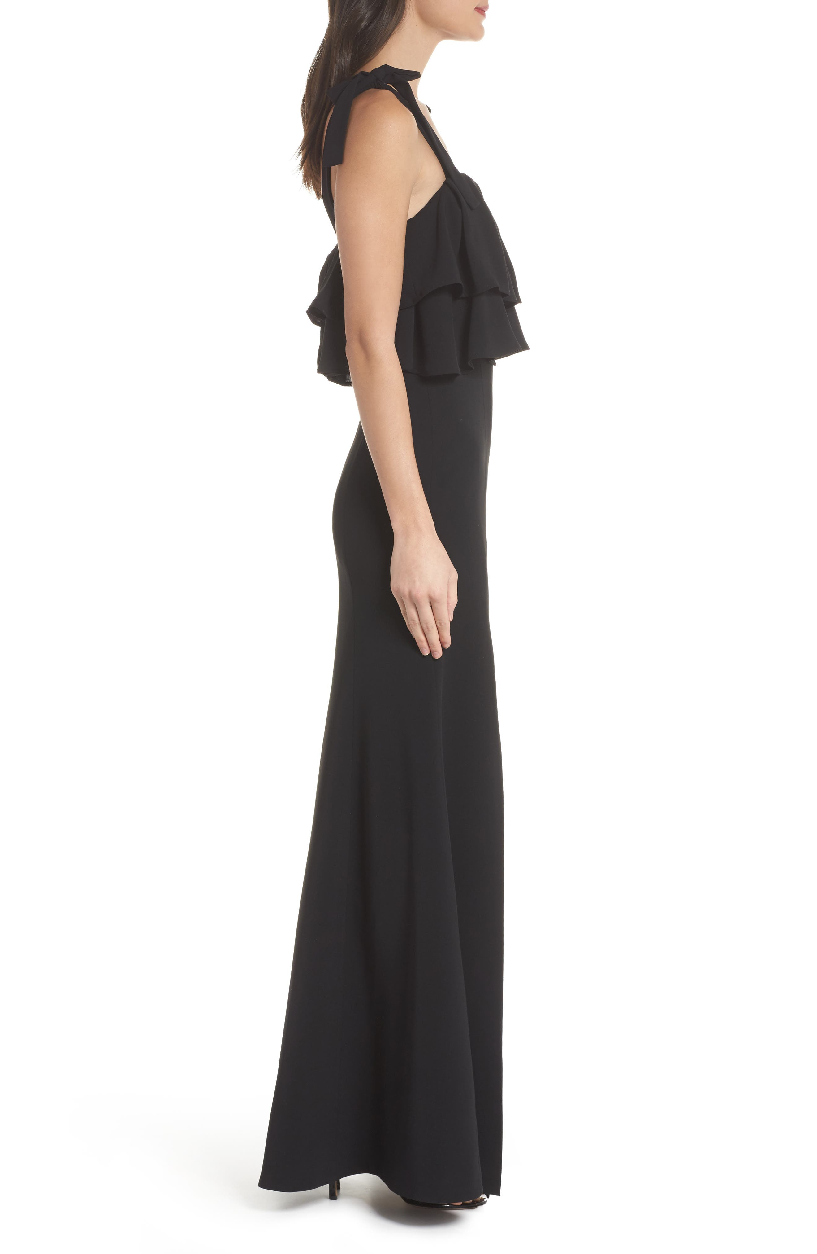 Be About You Ruffle Bodice Gown,                             Alternate thumbnail 3, color,                             Black