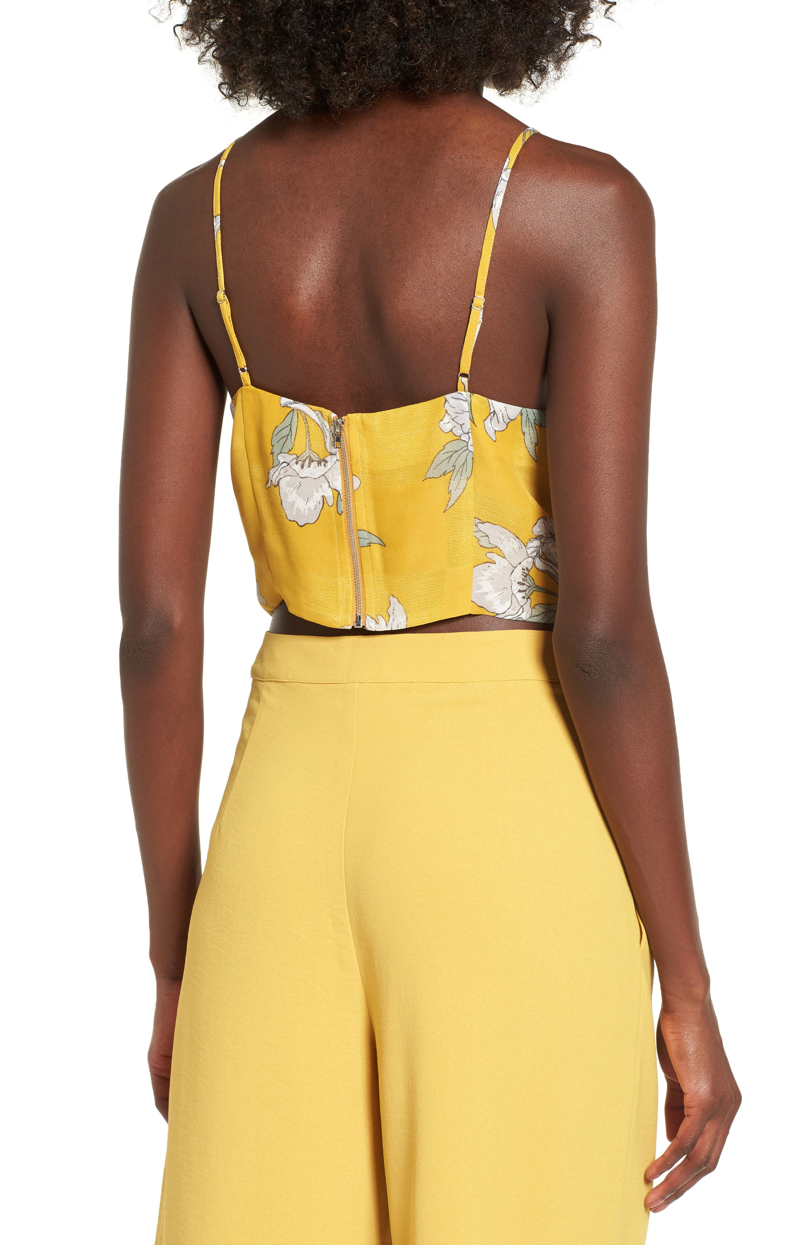 Chriselle x J.O.A. Tie Front Crop Top,                             Alternate thumbnail 7, color,                             Quince Blossom