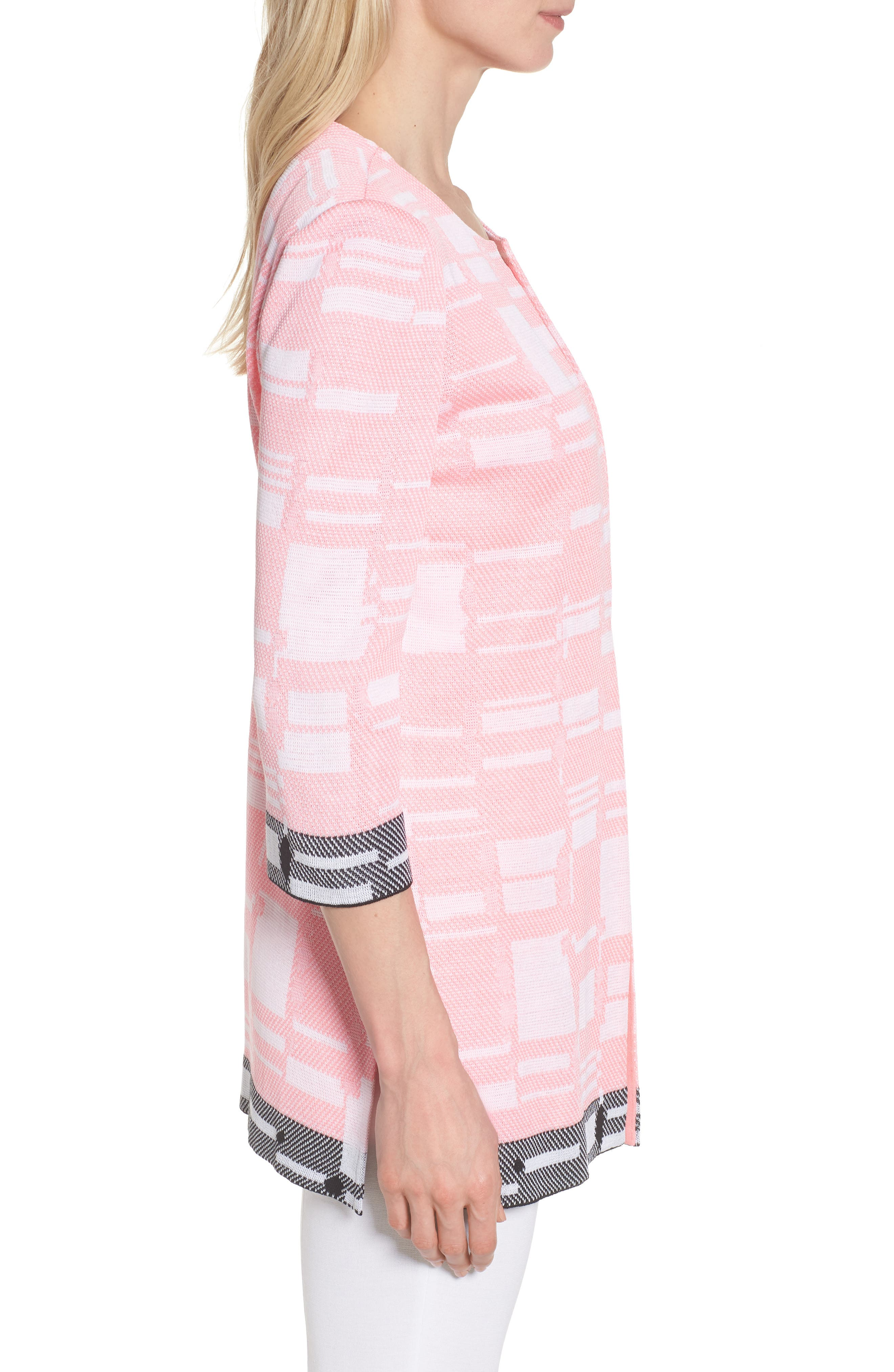 Multi Contrast Pattern Long Jacket,                             Alternate thumbnail 3, color,                             Pink Lemonade/ White/ Black