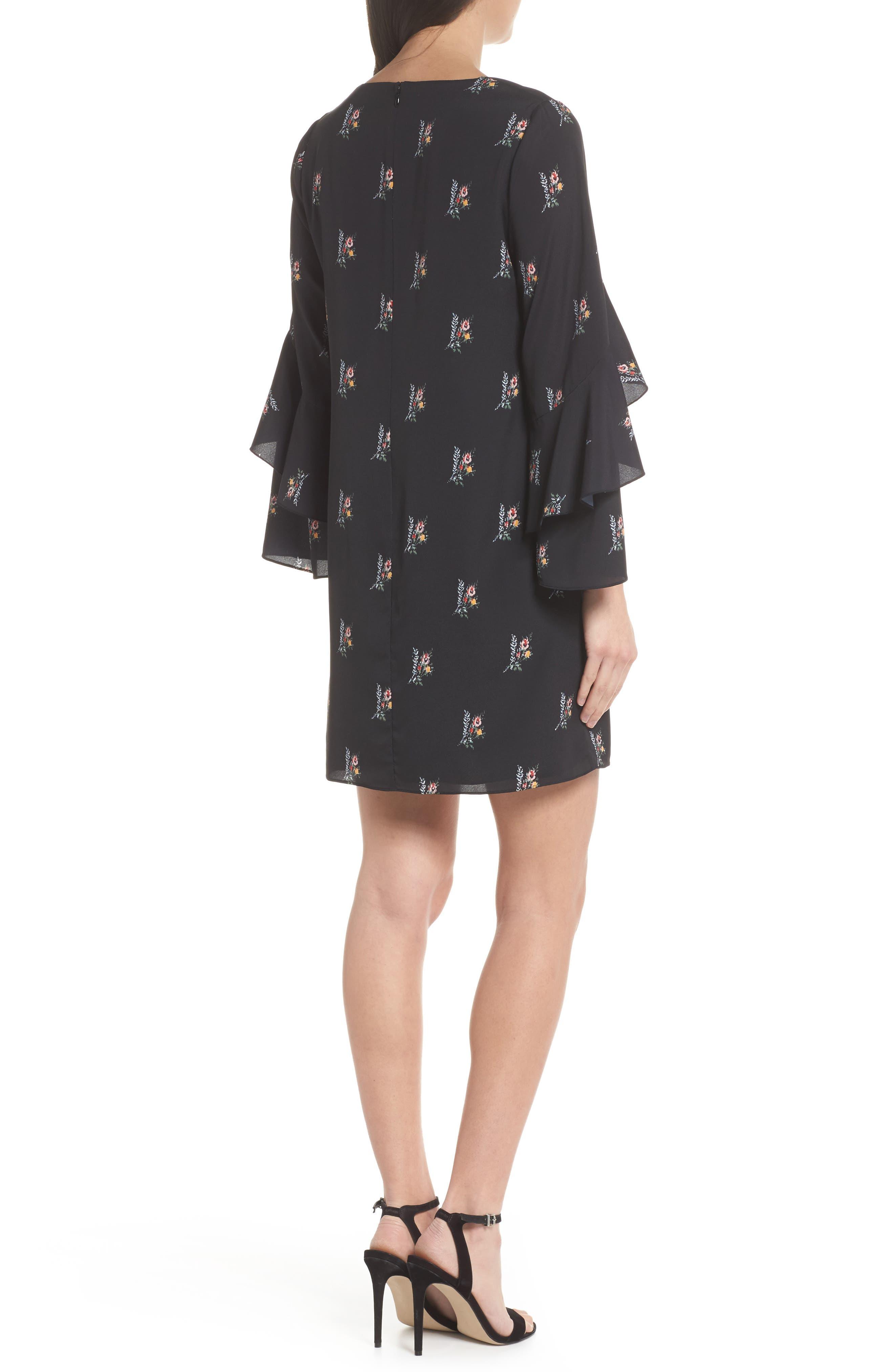 Olessia Ruffle Shift Dress,                             Alternate thumbnail 2, color,                             Black Multi