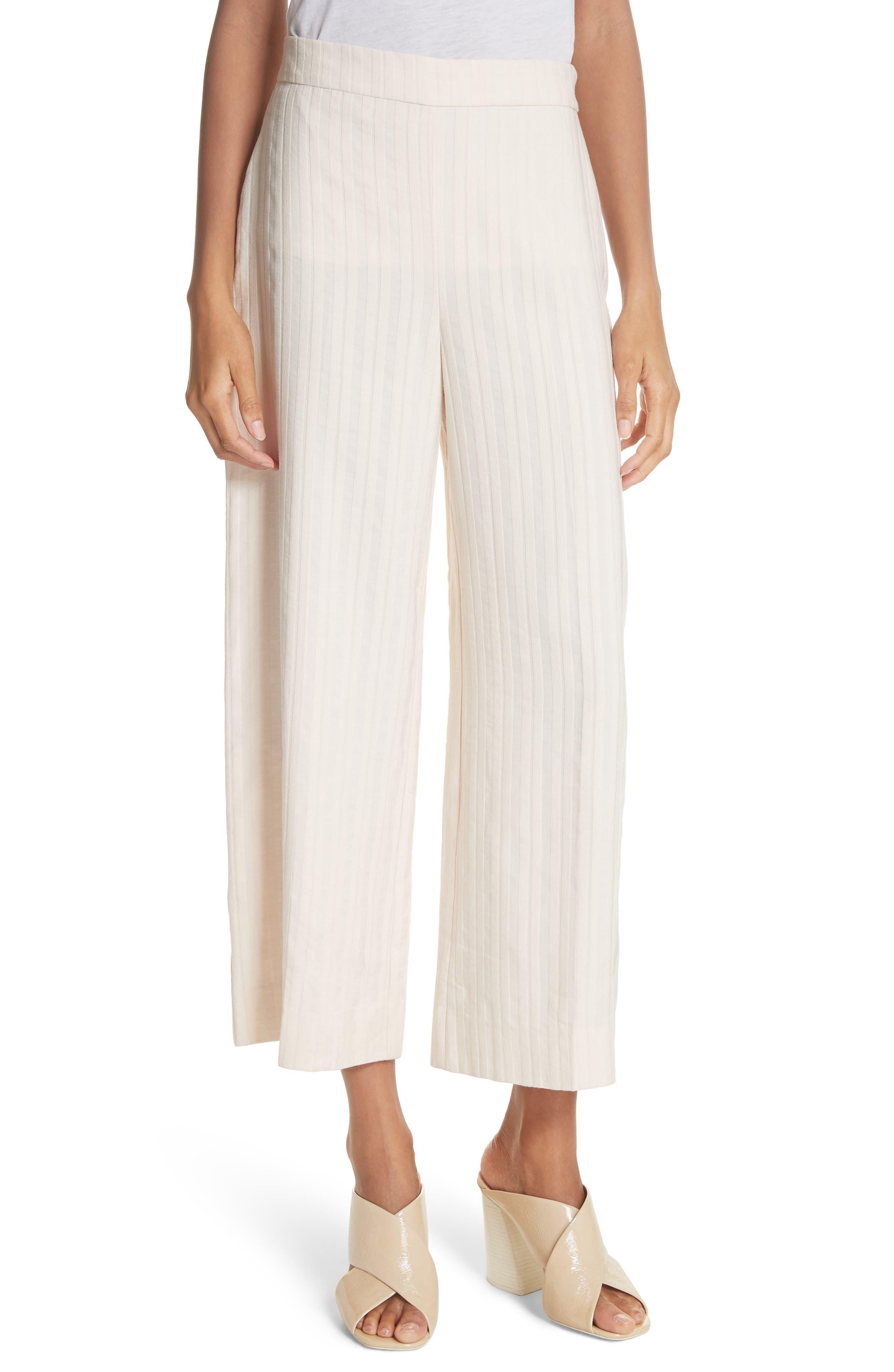 Textured Stripe Crop Pants,                             Main thumbnail 1, color,                             Creme Brulee