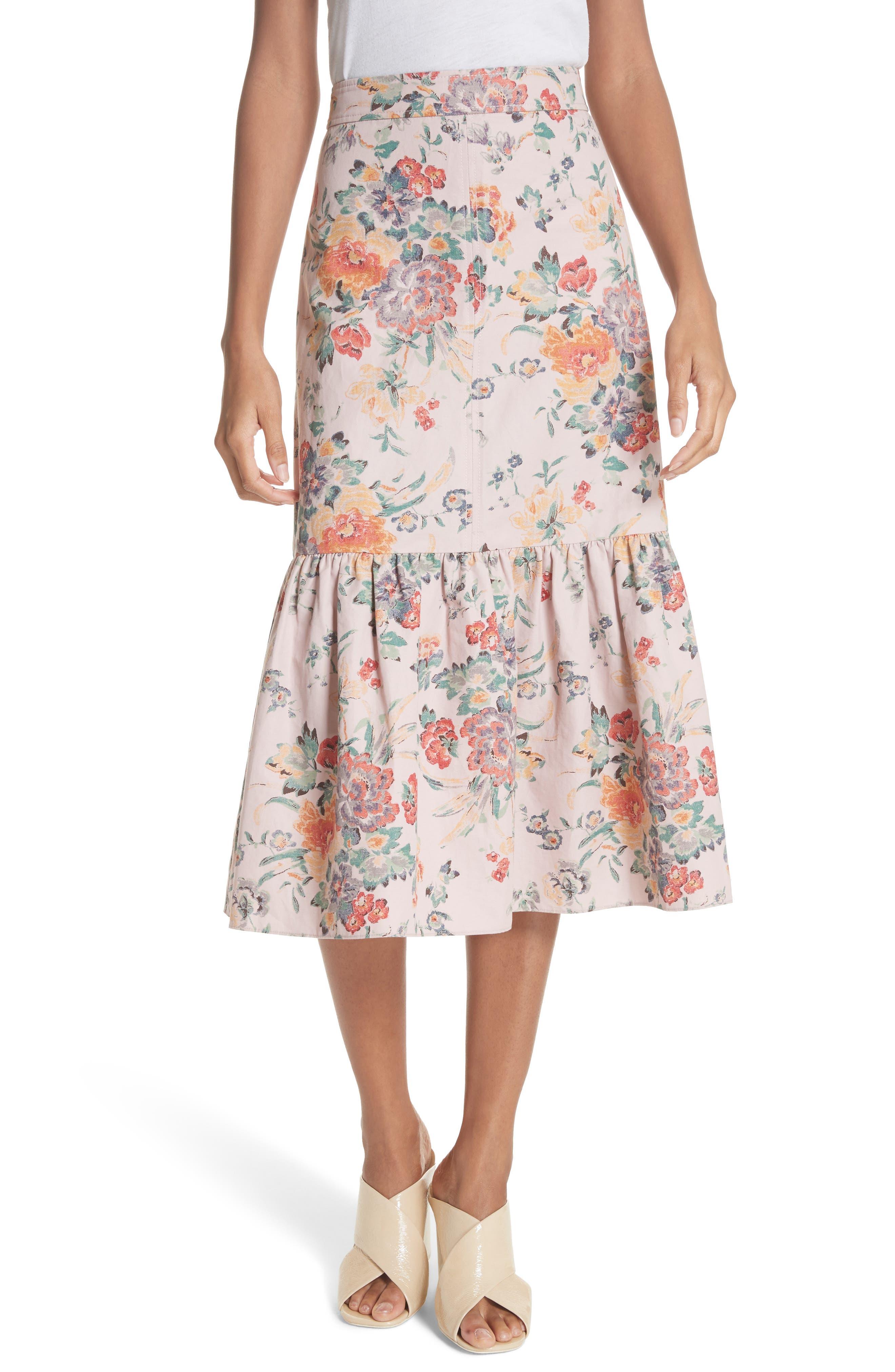 Marlena Ruffled Floral Skirt,                             Main thumbnail 1, color,                             Dusty Rose Combo
