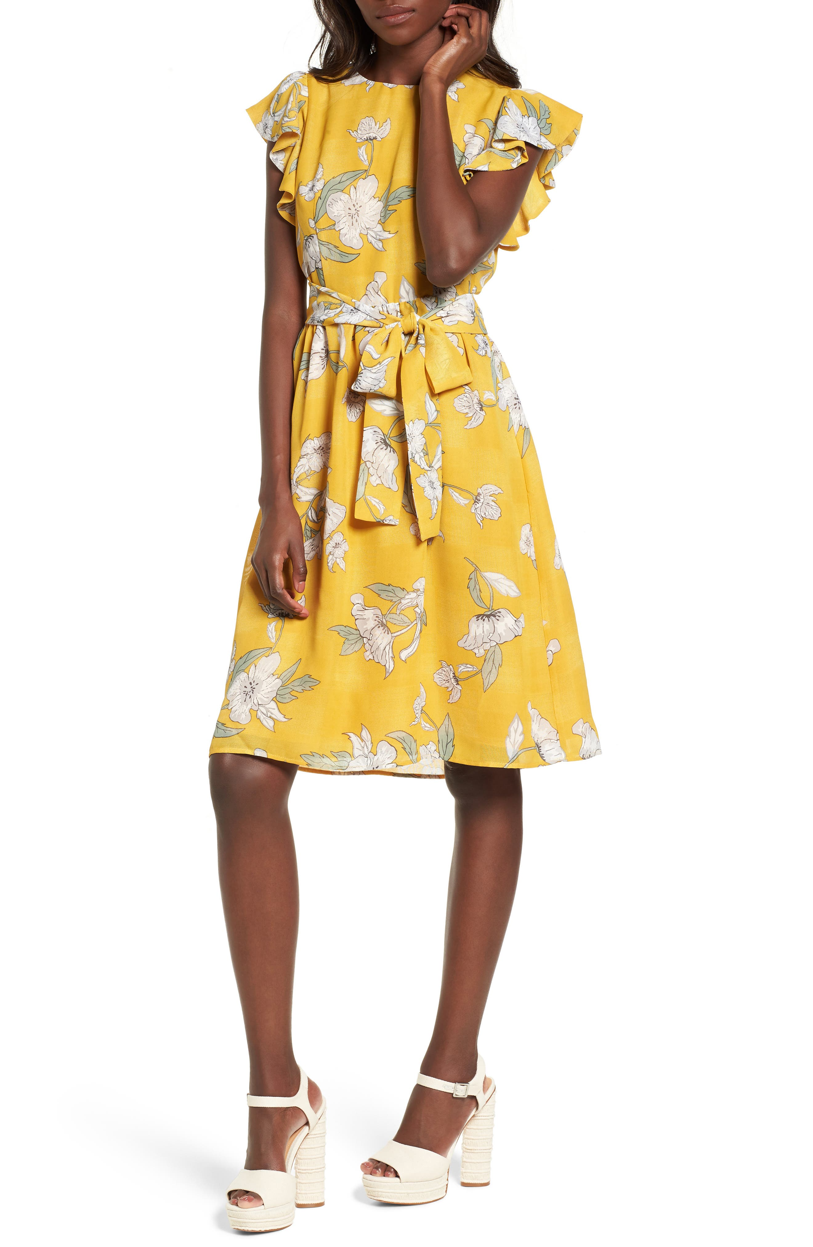 Chriselle x J.O.A. Fit & Flare Dress,                         Main,                         color, Quince Blossom