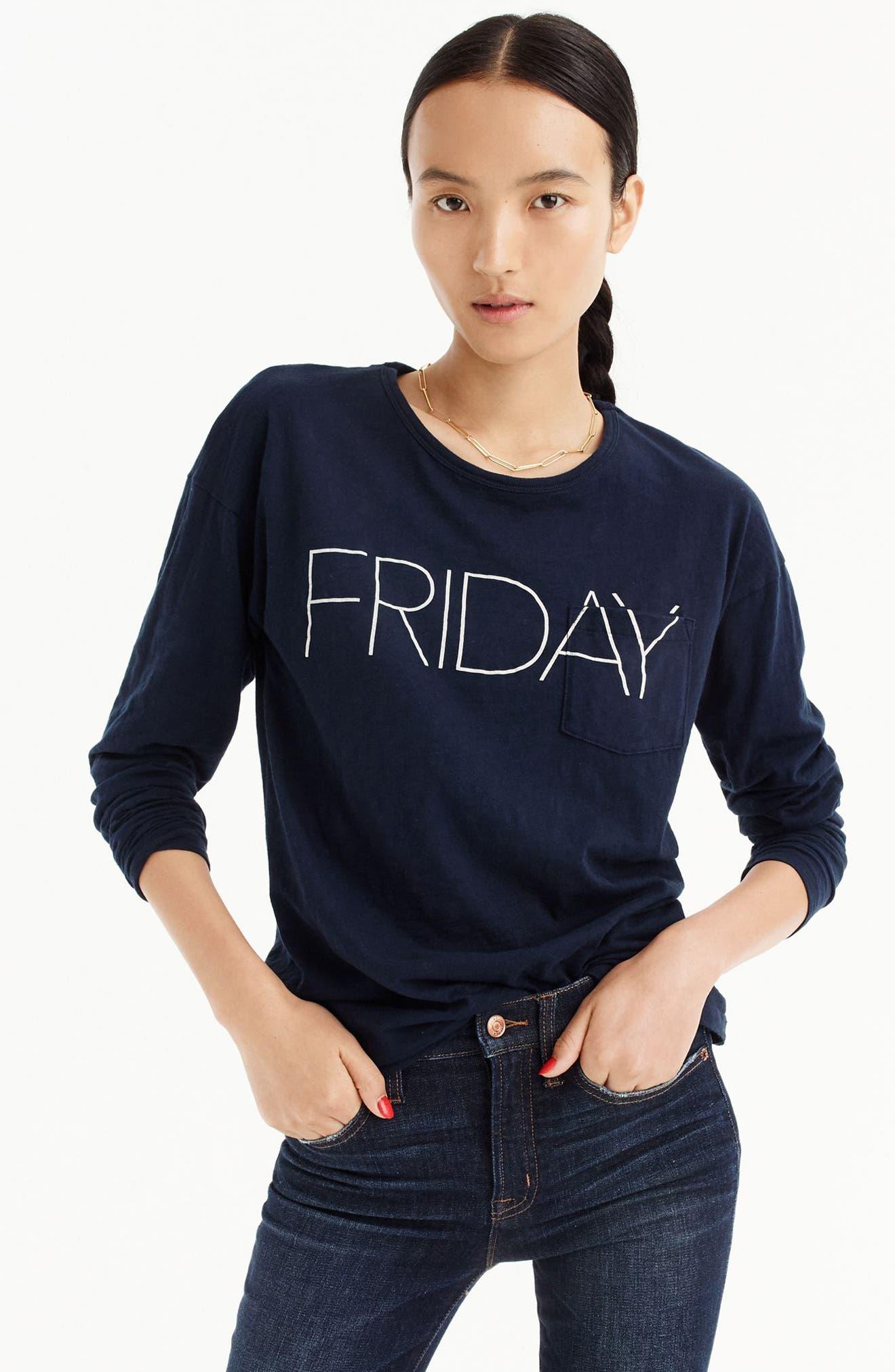 Friday Long Sleeve Tee,                         Main,                         color, Navy