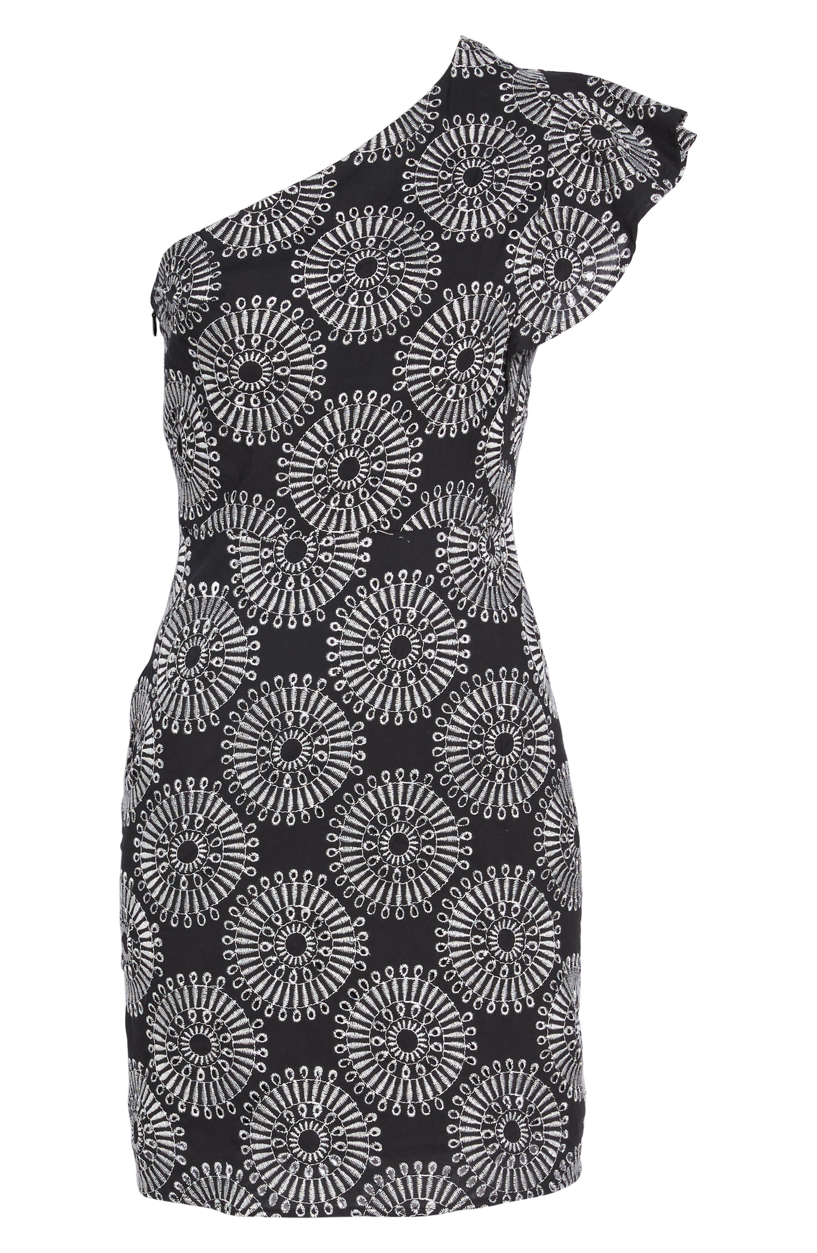 Embroidered One-Shoulder Sheath Dress,                             Alternate thumbnail 6, color,                             Black/ White