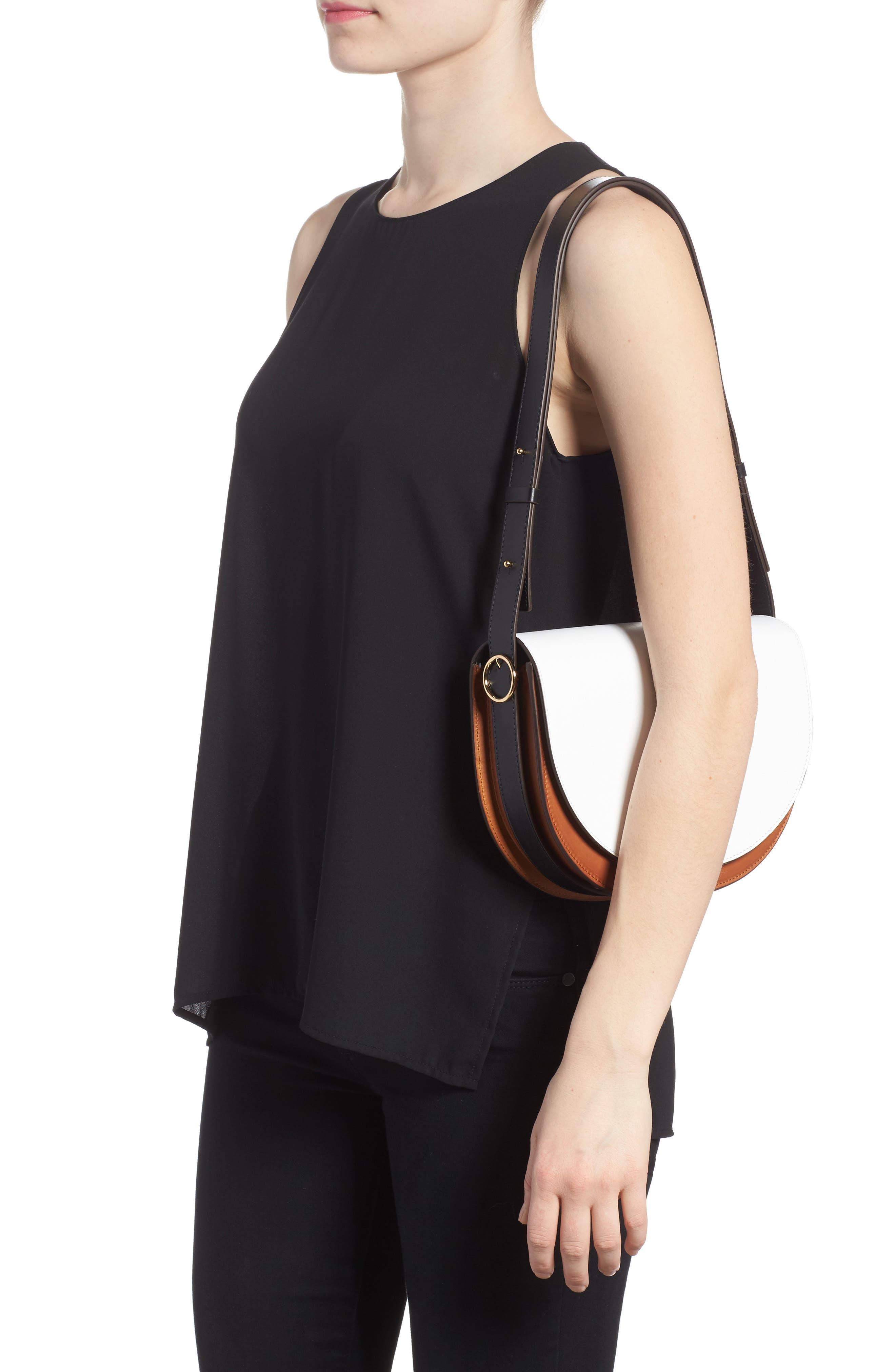 Half Moon Box Shoulder Bag,                             Alternate thumbnail 2, color,                             White/ Ambra/ Black