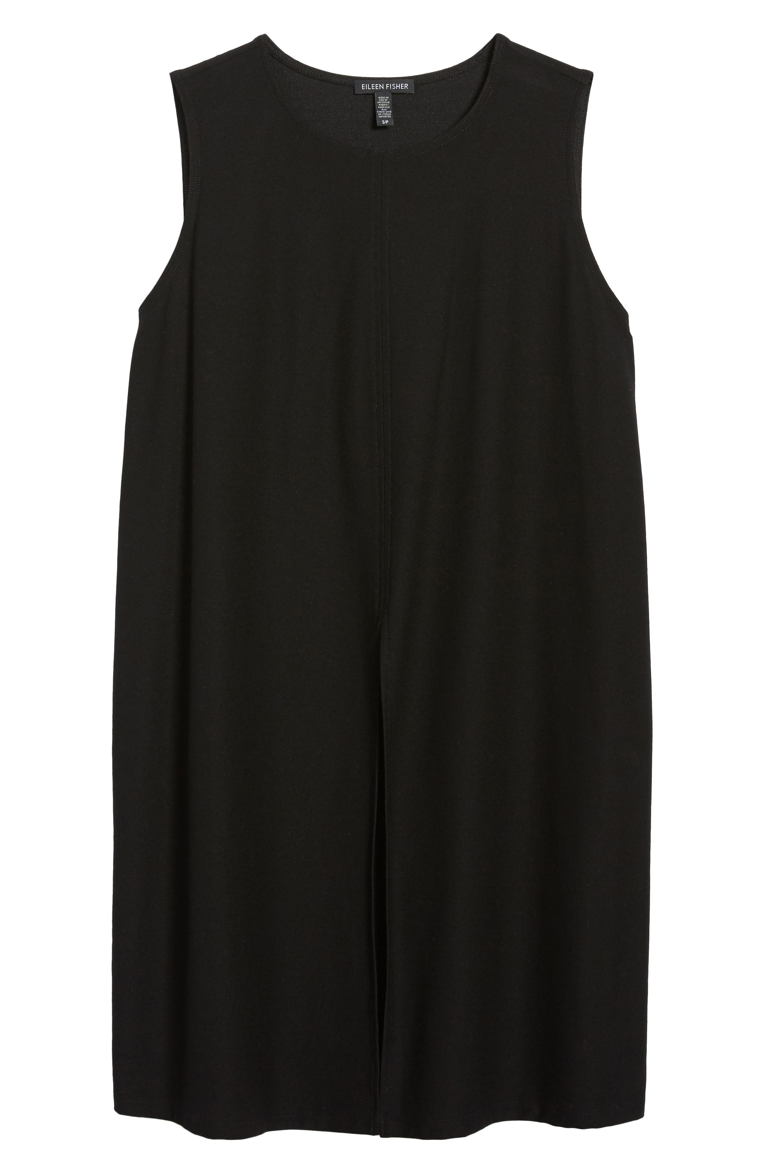 Slit Front Jersey Tunic,                             Alternate thumbnail 6, color,                             Black
