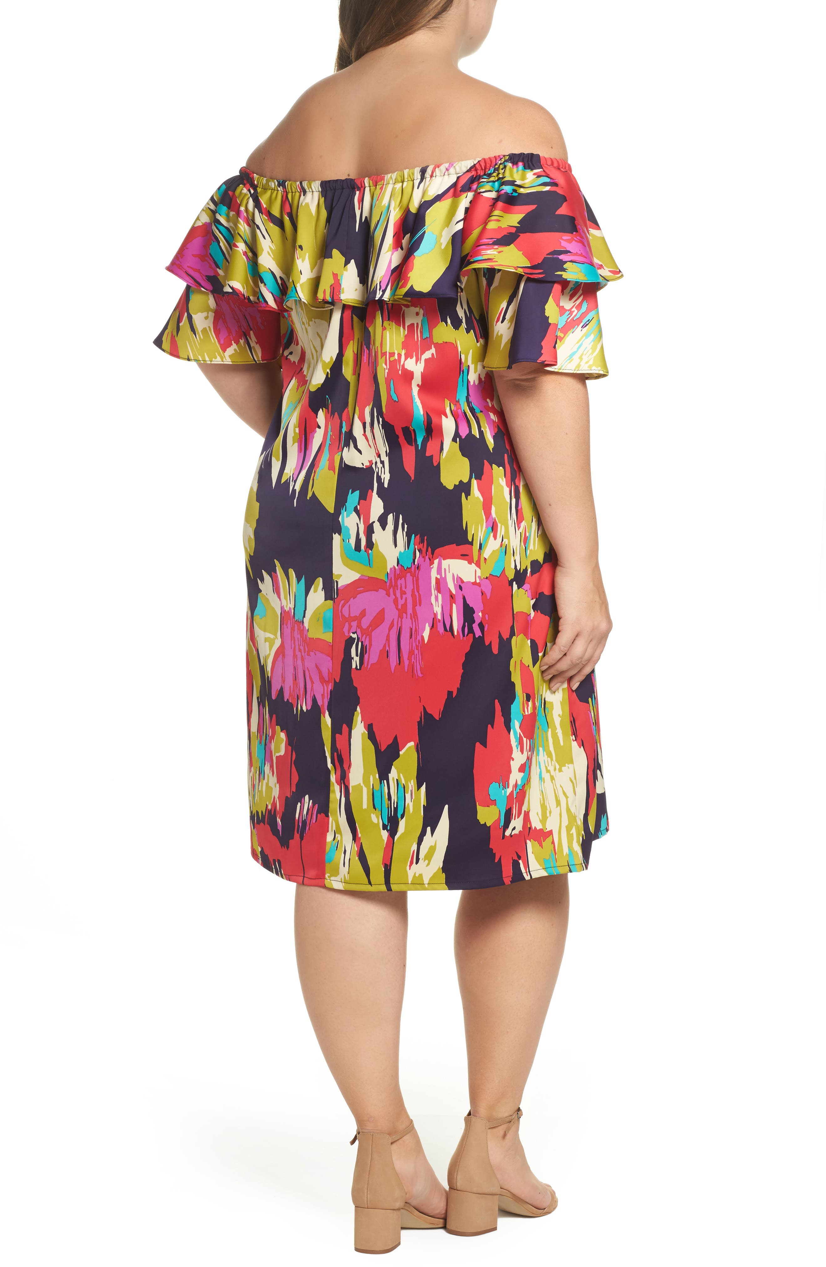 Double Ruffle Off the Shoulder Dress,                             Alternate thumbnail 2, color,                             Dark Eggplant/ Red