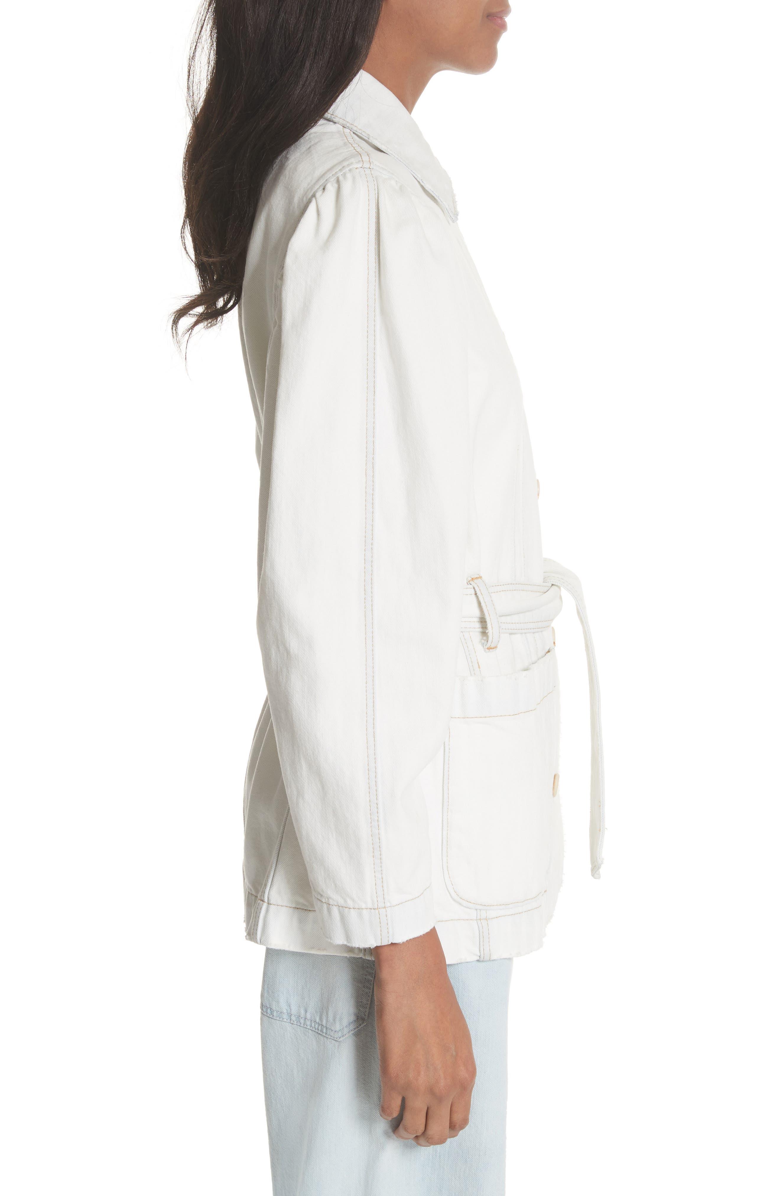 Belted Denim Jacket,                             Alternate thumbnail 3, color,                             Whiteout Wash