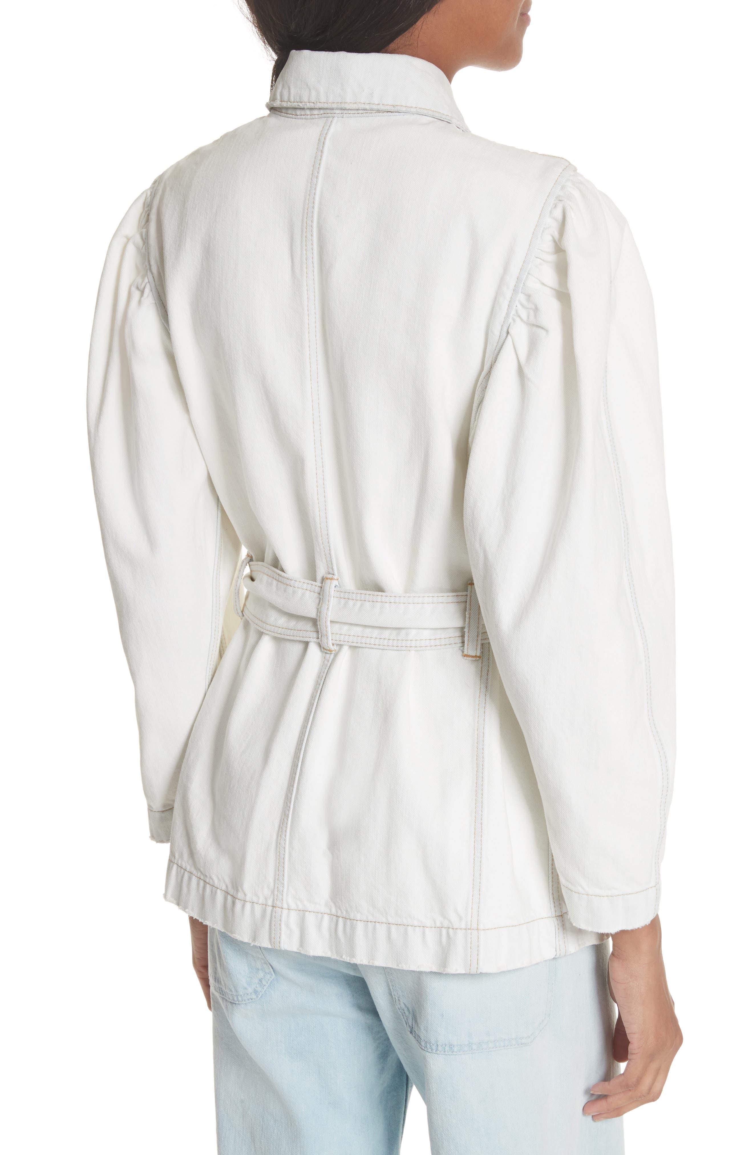 Belted Denim Jacket,                             Alternate thumbnail 2, color,                             Whiteout Wash