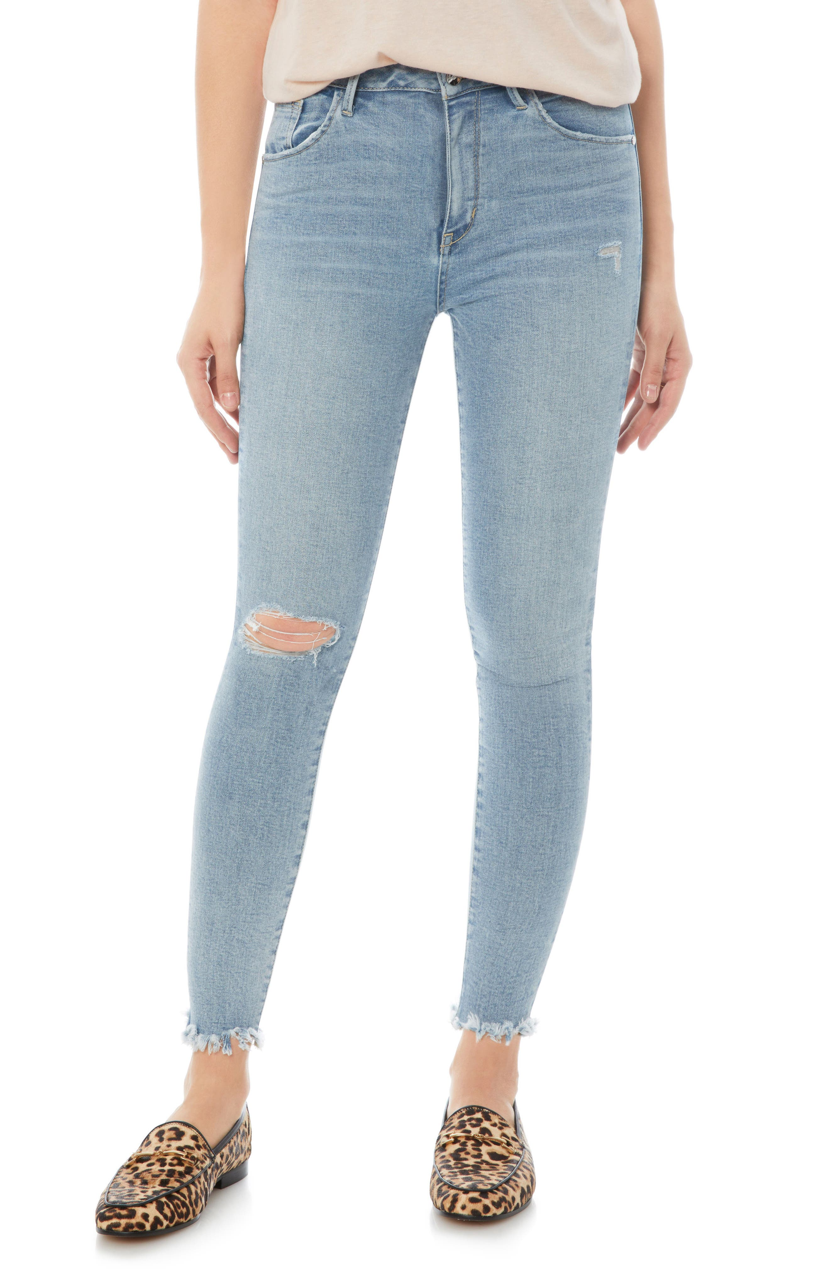 The Stiletto Ripped Fringe Jeans,                         Main,                         color, Honor