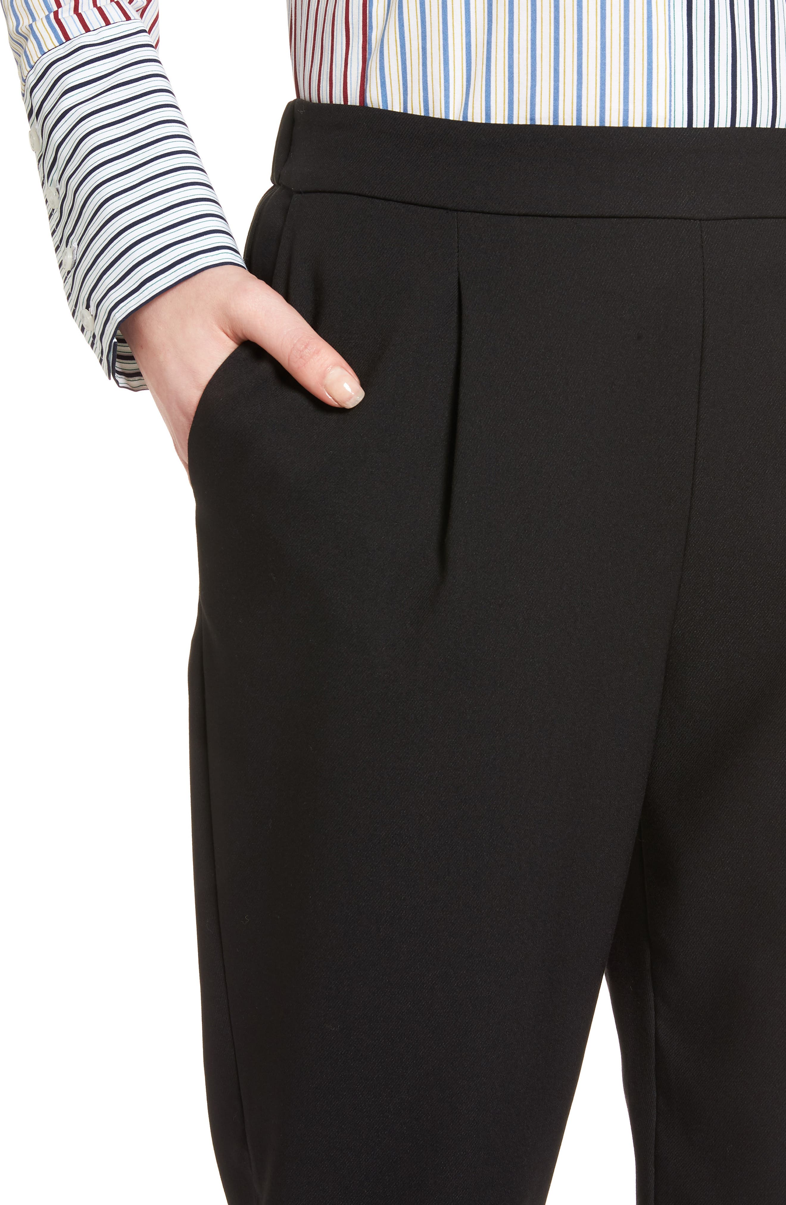 Twill Ankle Pants,                             Alternate thumbnail 4, color,                             Black