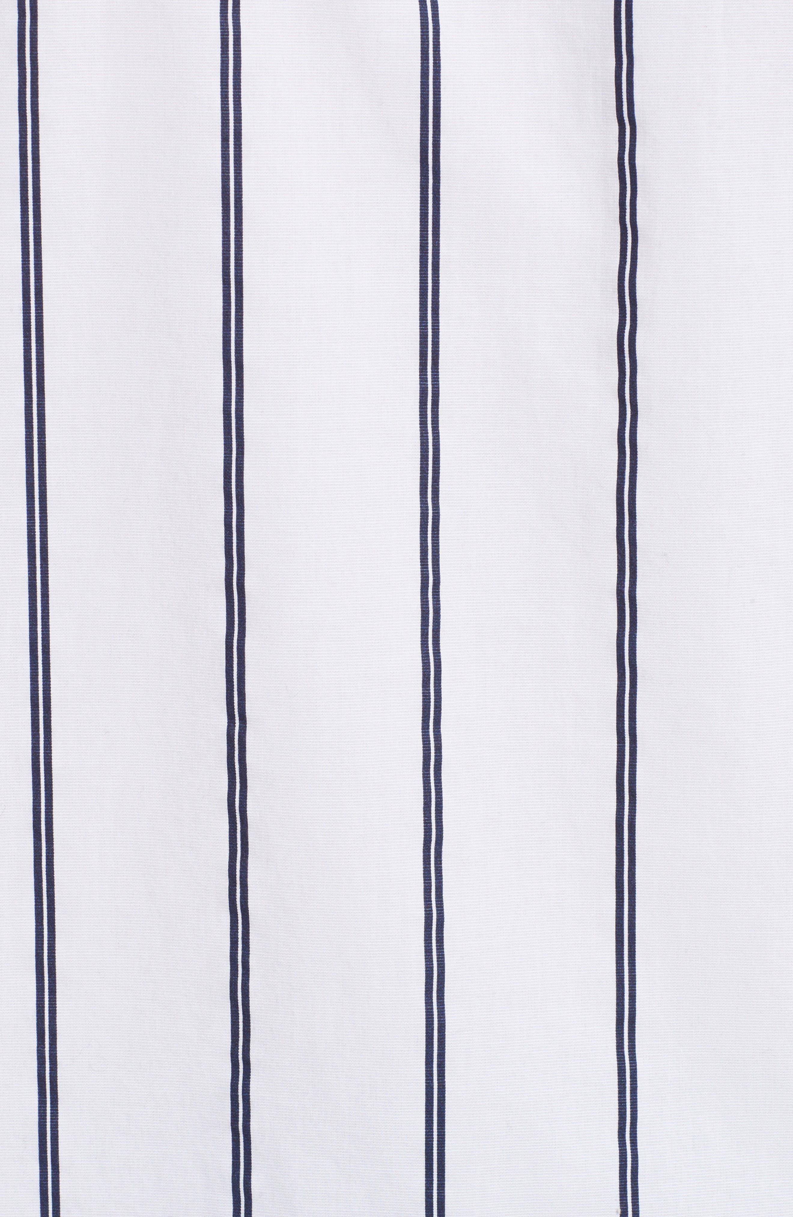 Railroad Stripe Boyfriend Shirt,                             Alternate thumbnail 5, color,                             White/ Midnight Stripe