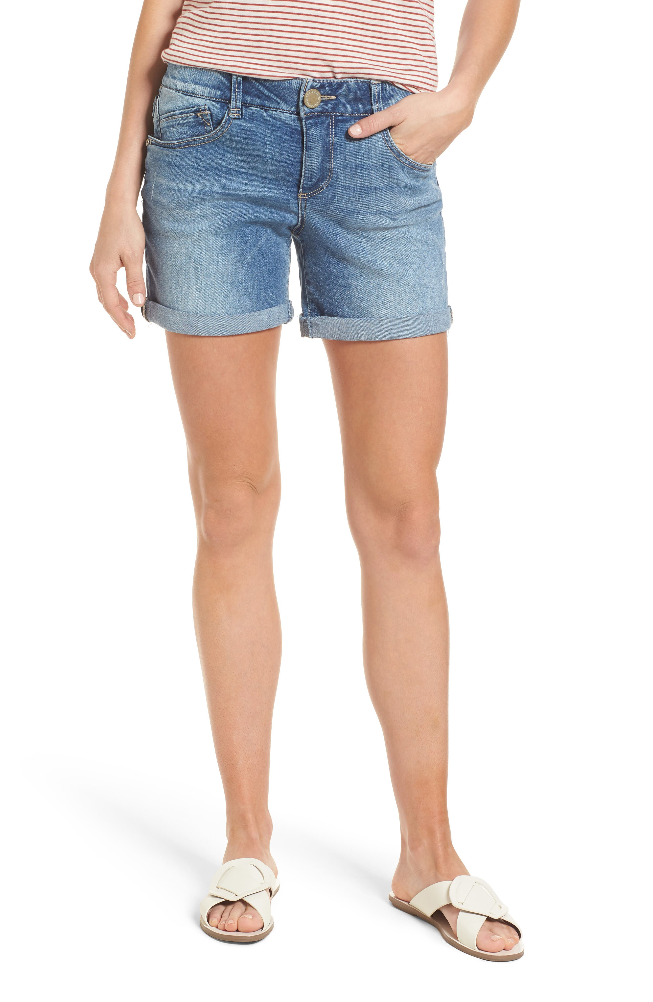 Ab-solution Denim Shorts,                         Main,                         color, Light Blue