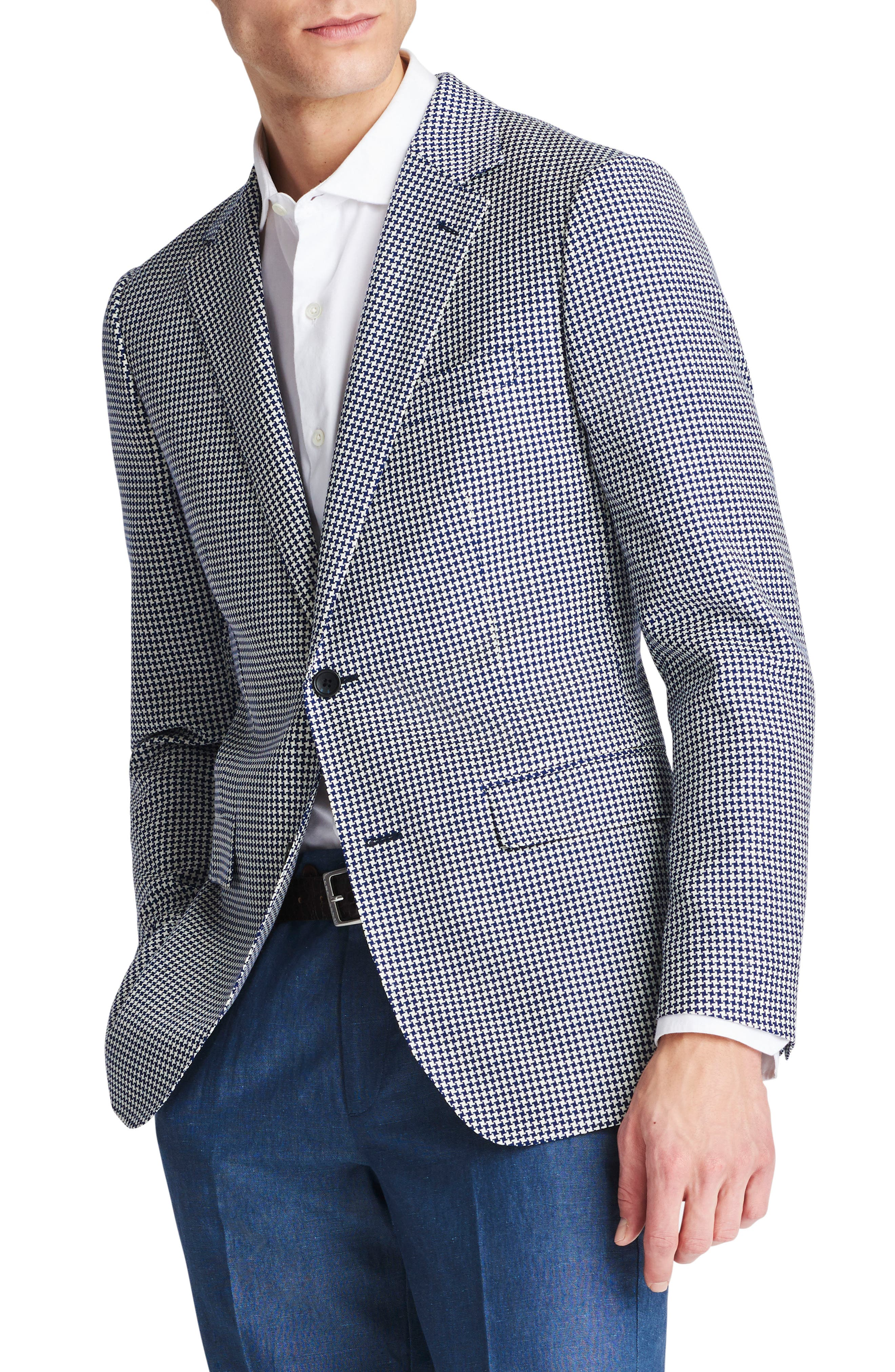 Capstone Slim Fit Houndstooth Wool Sport Coat,                             Alternate thumbnail 3, color,                             Navy White Houndstooth