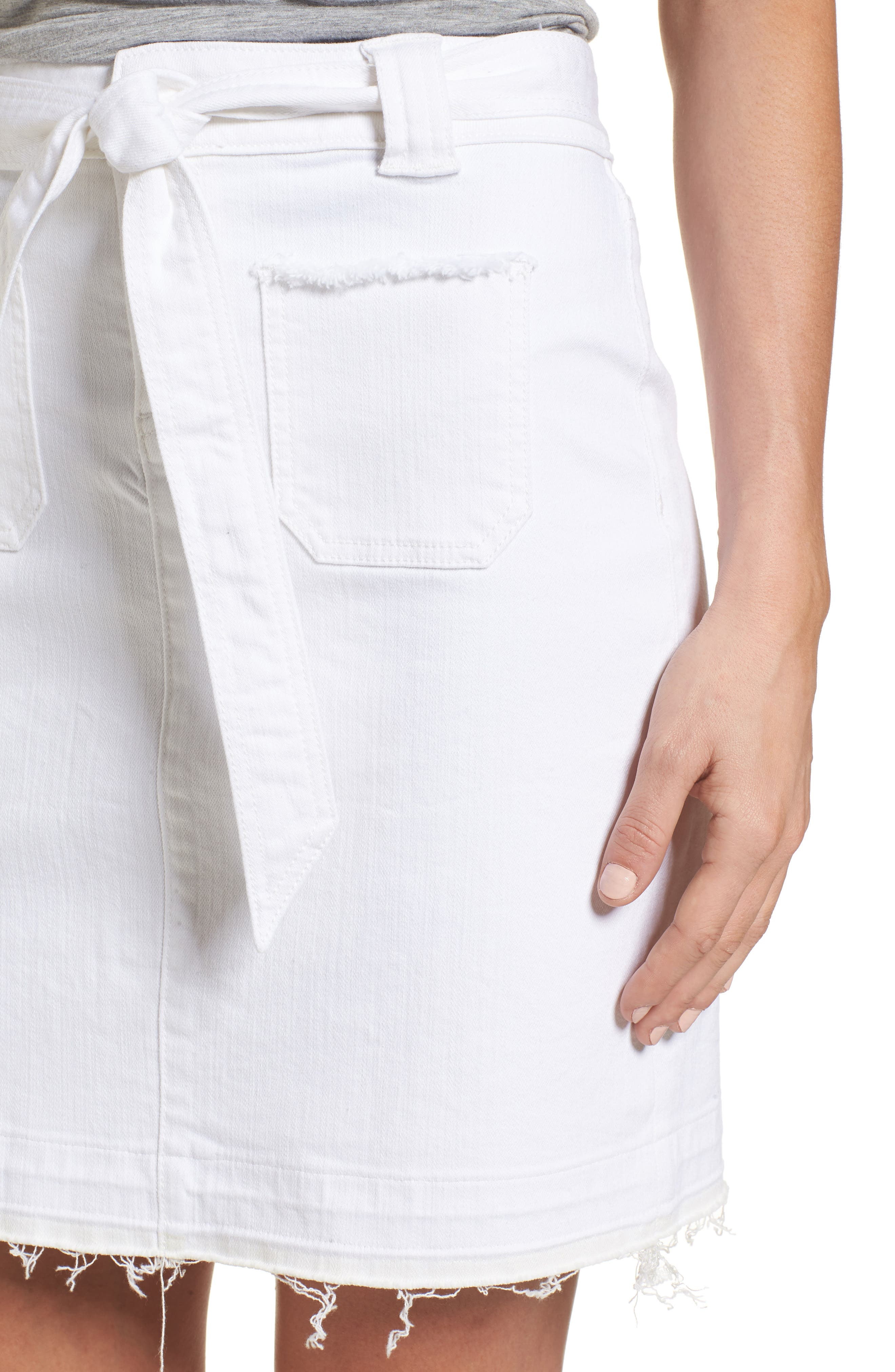 Belted Release Hem Stretch Cotton Twill Skirt,                             Alternate thumbnail 4, color,                             White