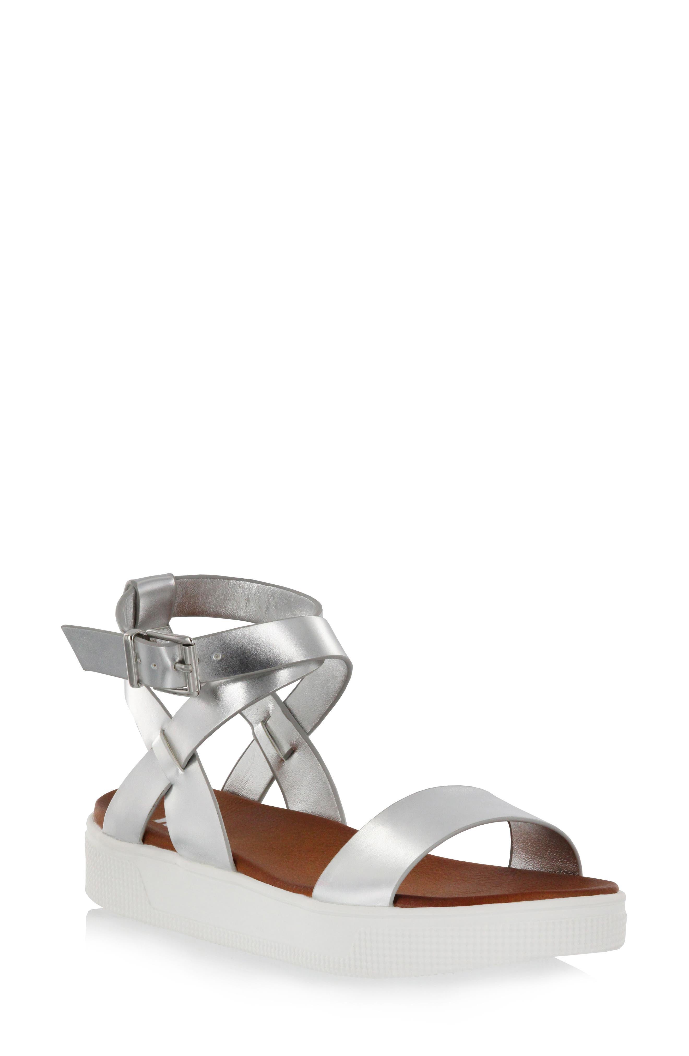 Calla Platform Sandal,                             Main thumbnail 1, color,                             Silver Faux Leather