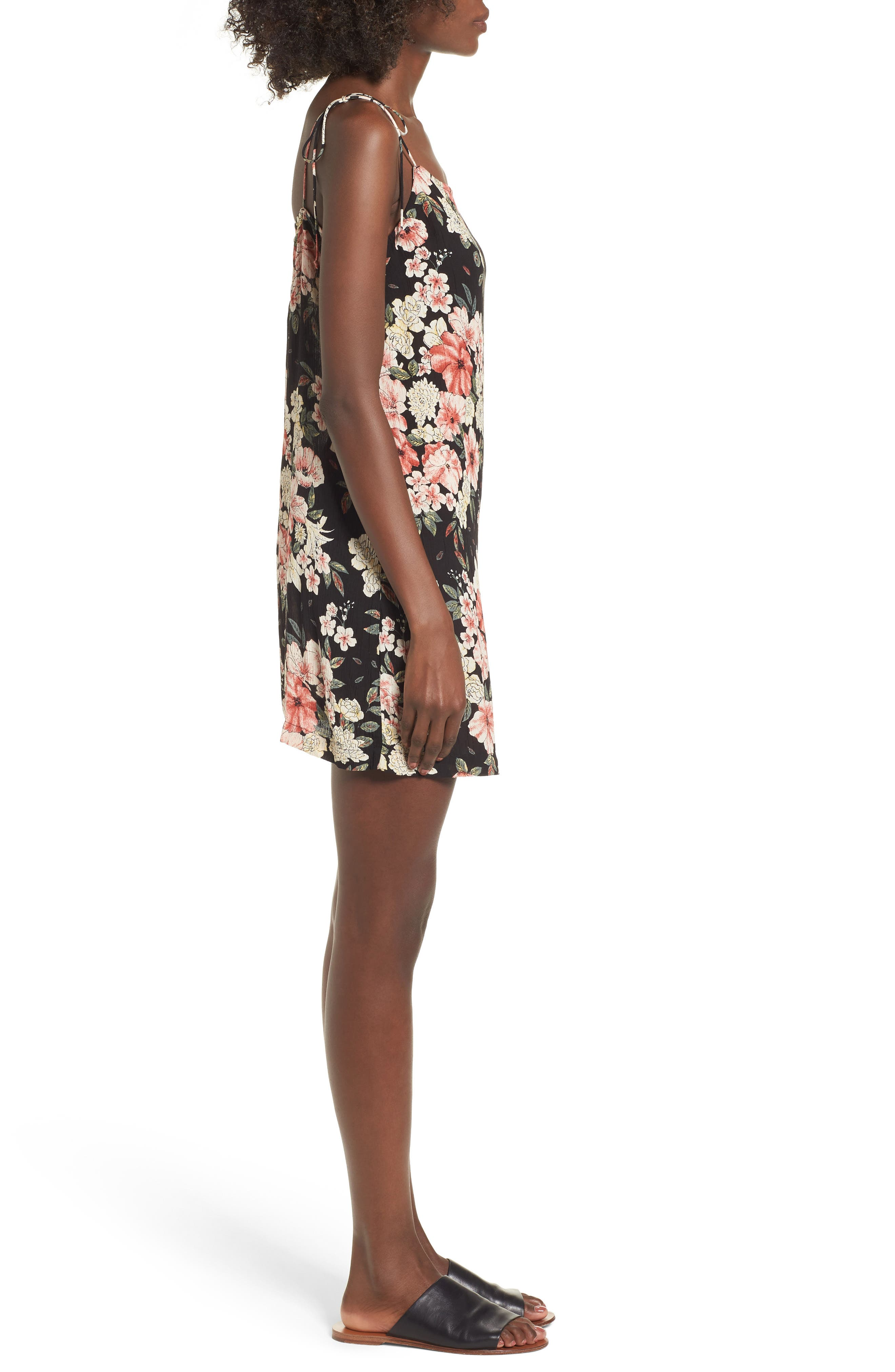 Nights Out Floral Slipdress,                             Alternate thumbnail 3, color,                             Black