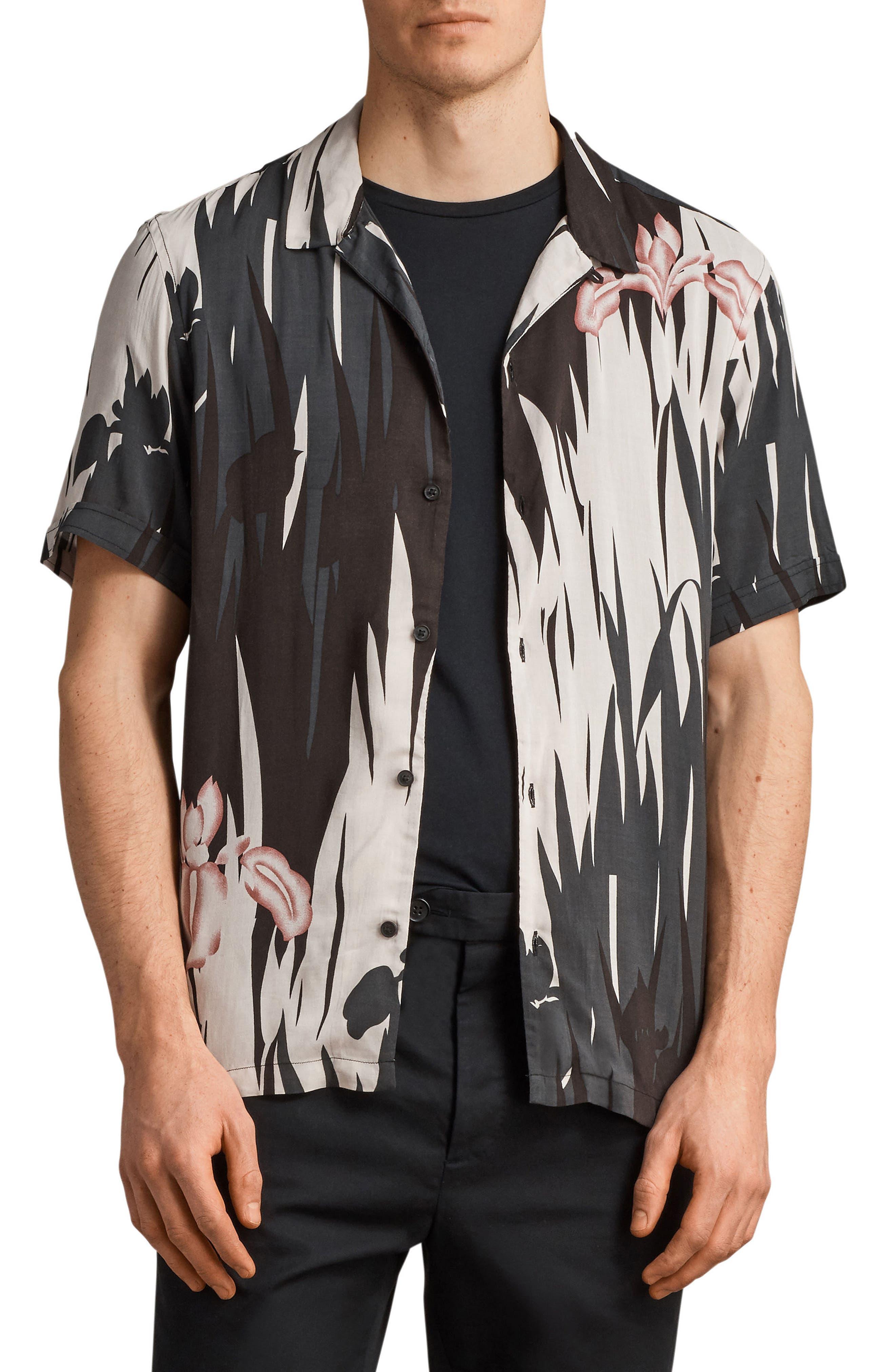 Nahiku Slim Fit Sport Shirt,                         Main,                         color, Black