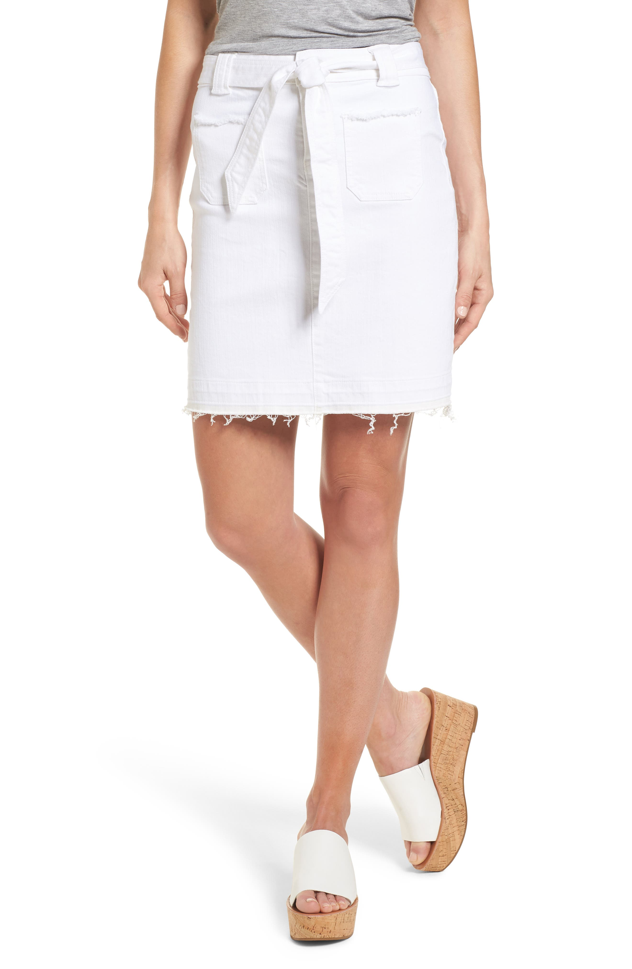Belted Release Hem Stretch Cotton Twill Skirt,                             Main thumbnail 1, color,                             White