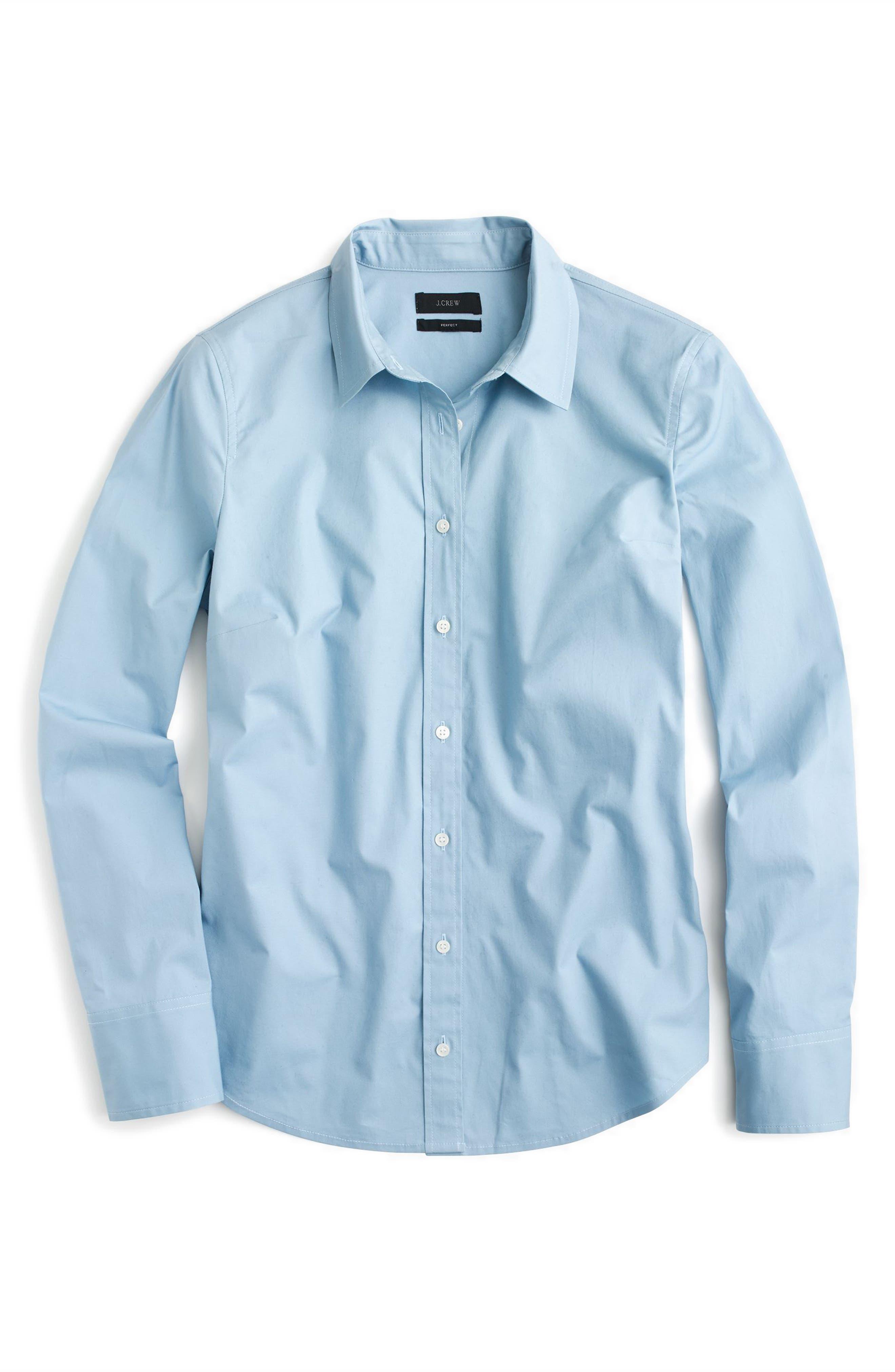 J.Crew Perfect Shirt,                             Alternate thumbnail 3, color,                             Misty Blue