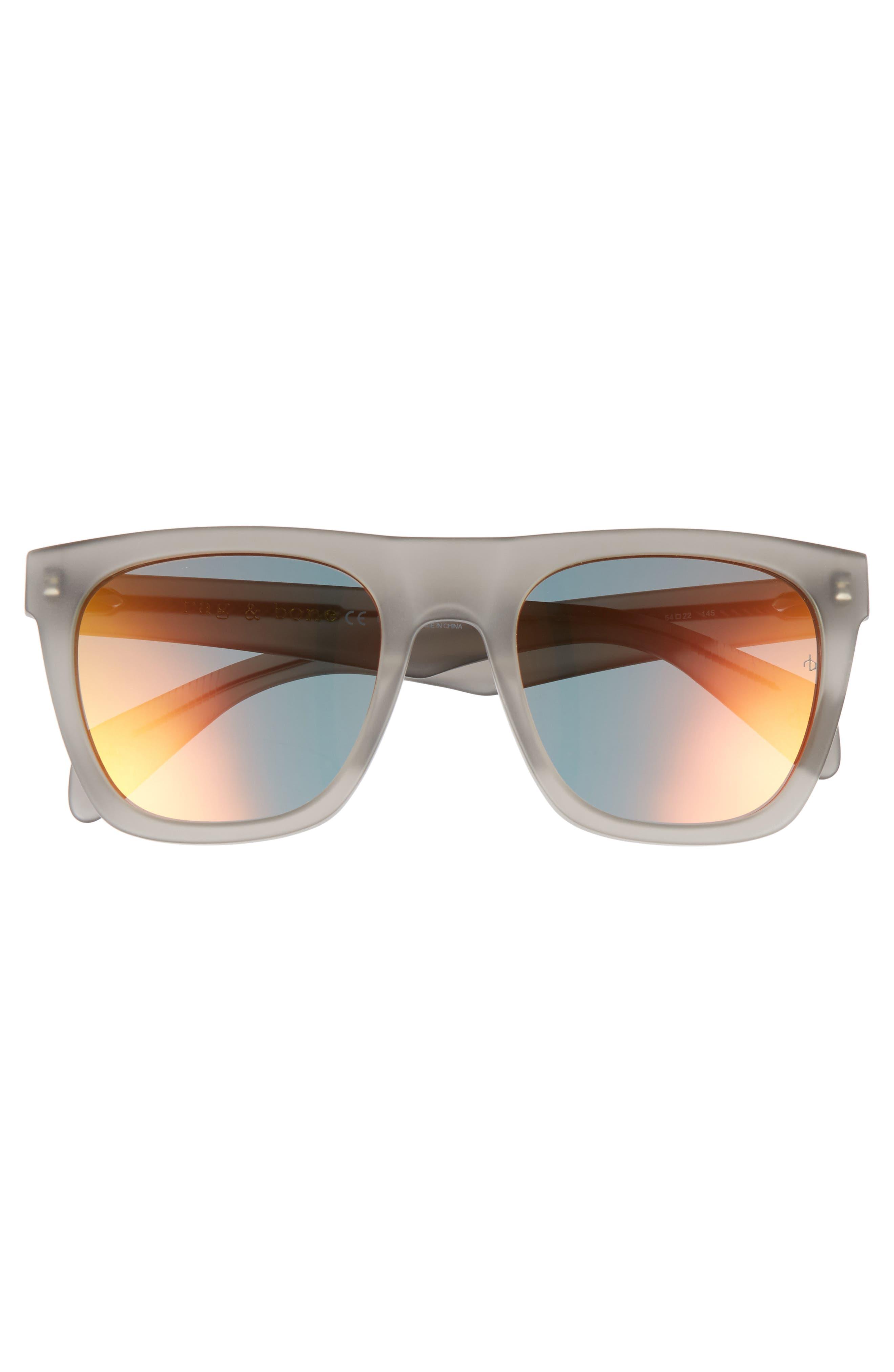 54mm Mirrored Sunglasses,                             Alternate thumbnail 2, color,                             Matte Grey