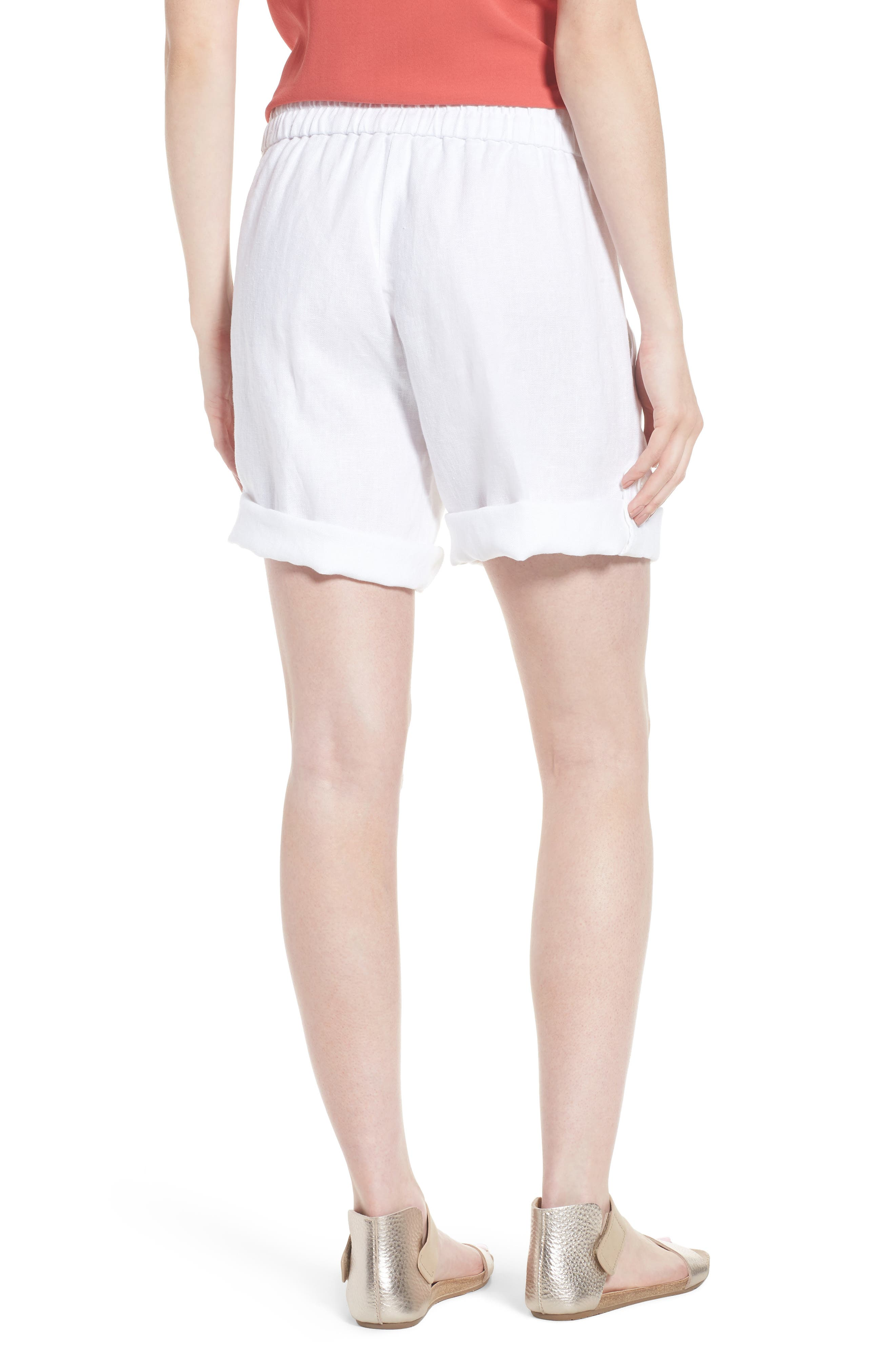 Rolled Organic Linen Shorts,                             Alternate thumbnail 2, color,                             White