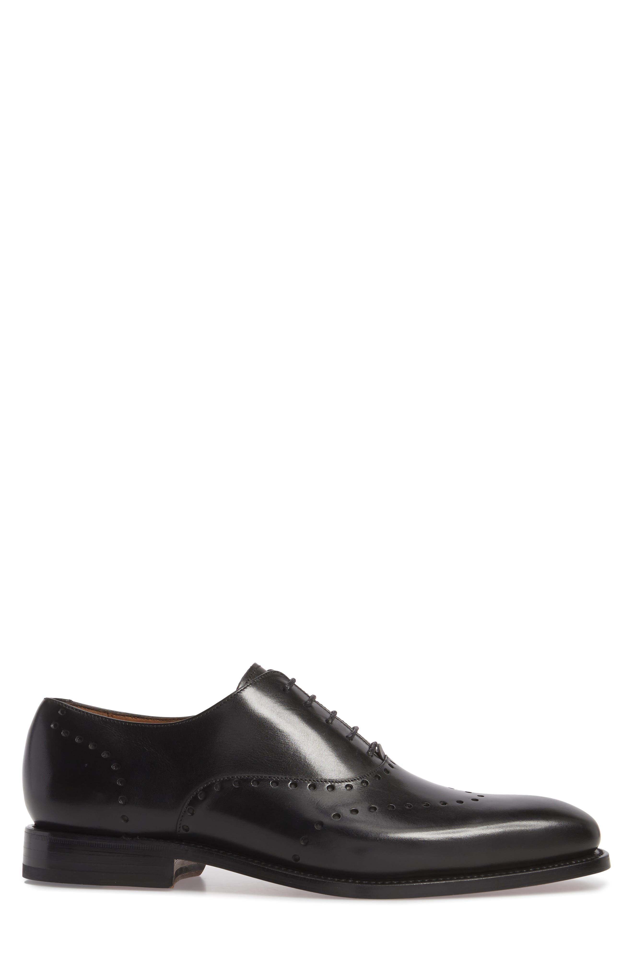 Belvedere Perforated Wingtip Oxford,                             Alternate thumbnail 3, color,                             Black