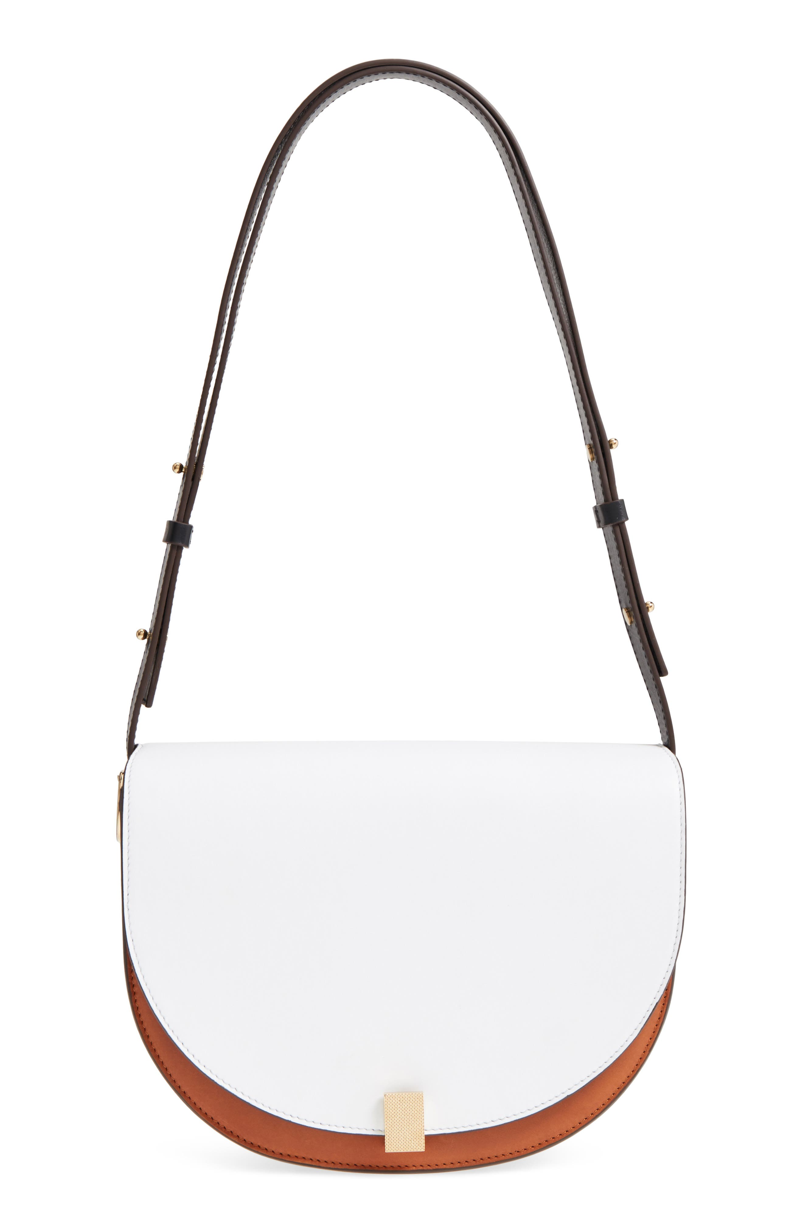 Half Moon Box Shoulder Bag,                             Main thumbnail 1, color,                             White/ Ambra/ Black
