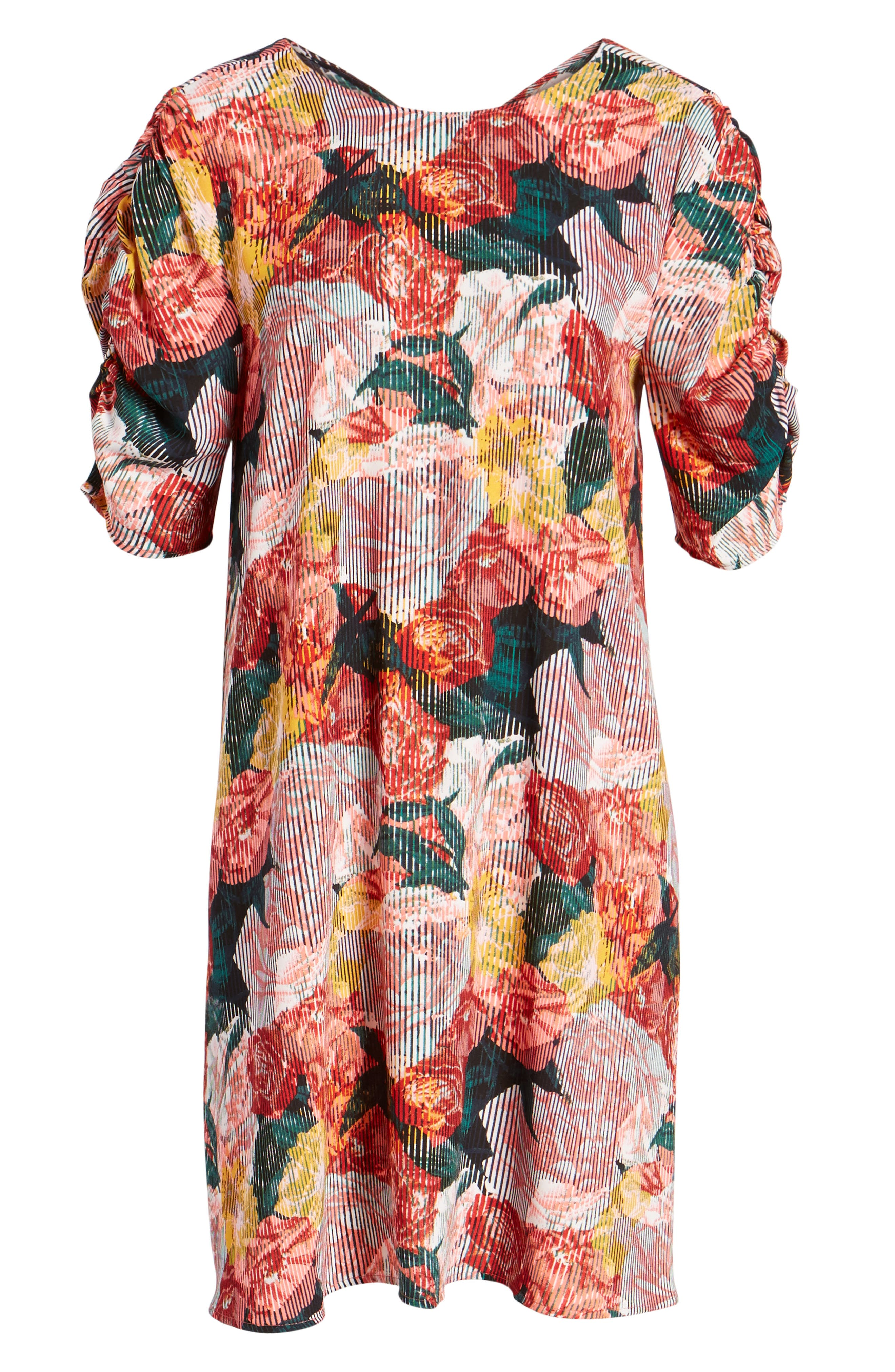 Ruched Sleeve Crepe Dress,                             Alternate thumbnail 6, color,                             Coral Fragment Floral