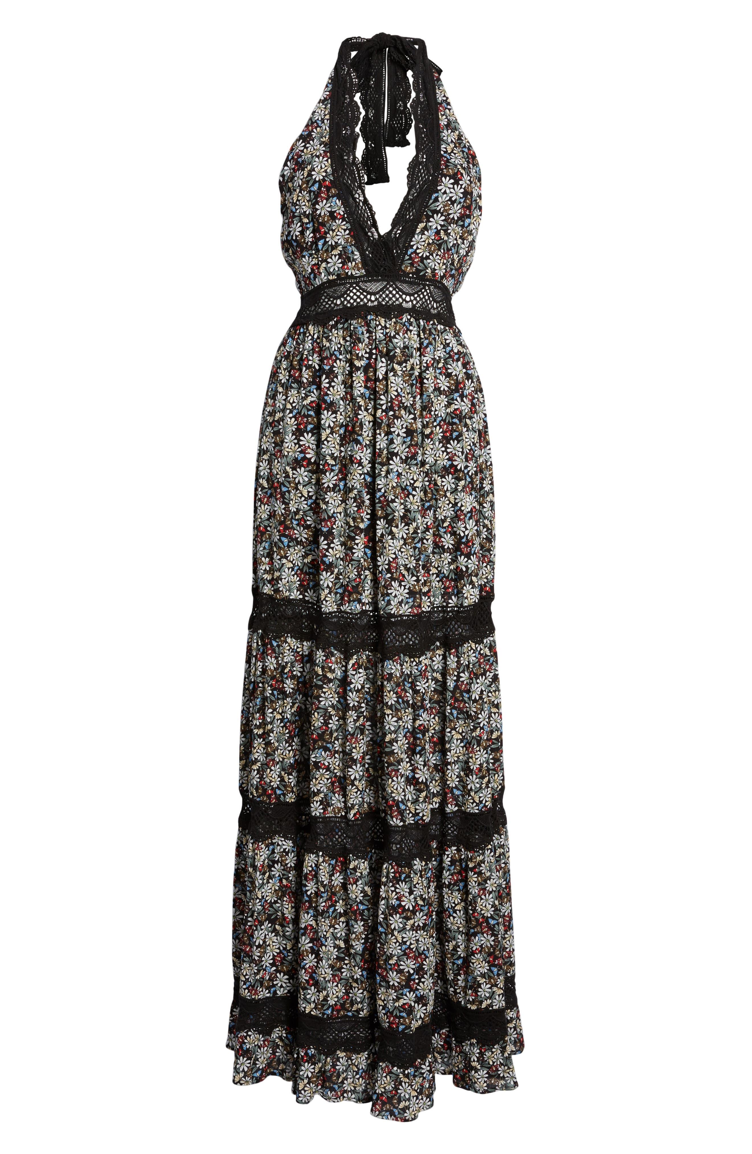 Flora Halter Neck Maxi Dress,                             Alternate thumbnail 7, color,                             Multi Black