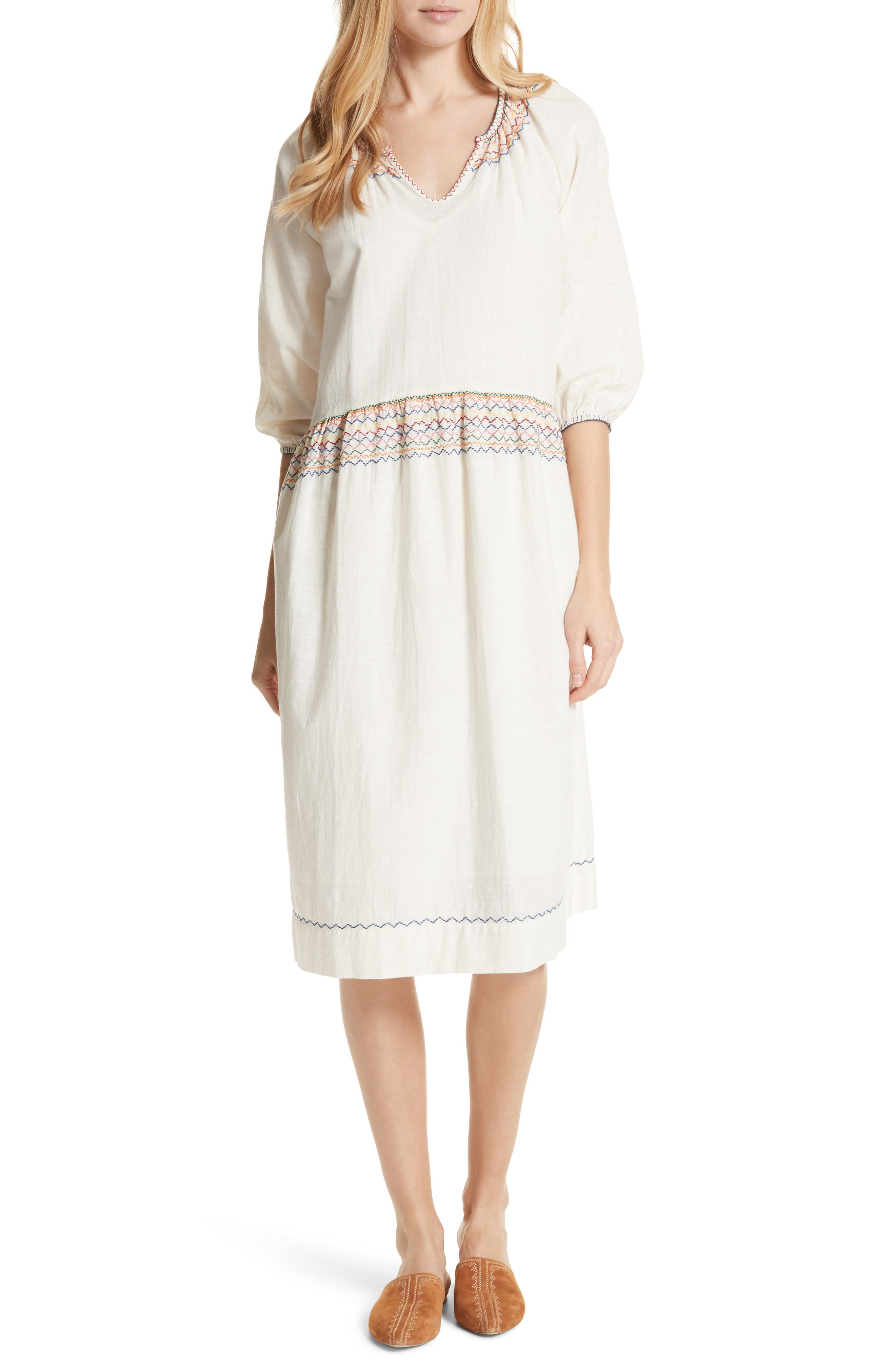 The Siesta Embroidered Dress,                         Main,                         color, White With Multi